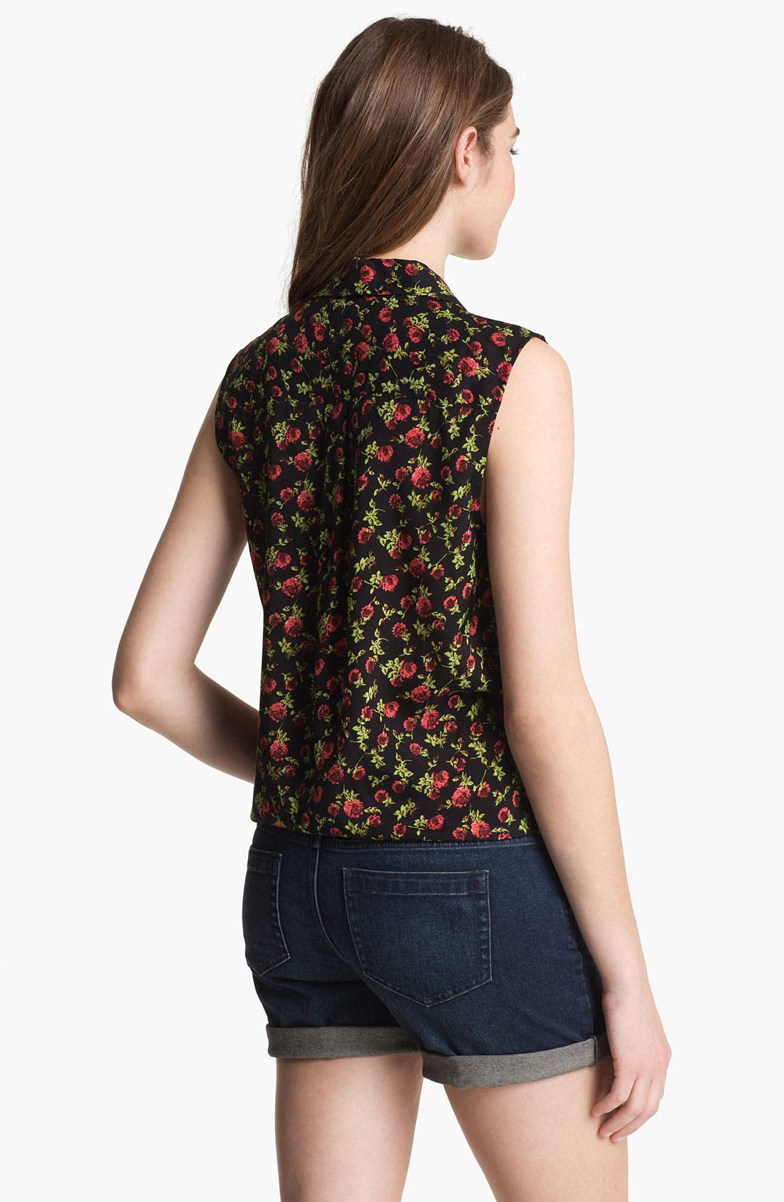 Alternate Image 2  - Two by Vince Camuto Rose Print Tie Front Top