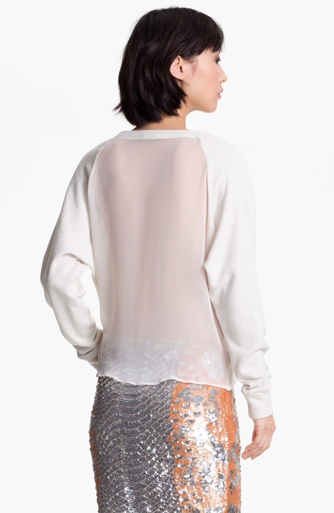 Alternate Image 3  - Haute Hippie Chiffon Back Crop Sweatshirt