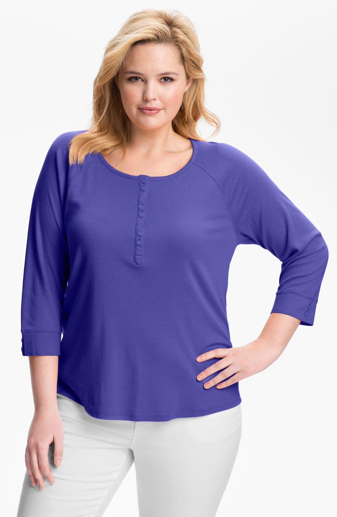 Alternate Image 1 Selected - Sejour Henley Tee (Plus Size)