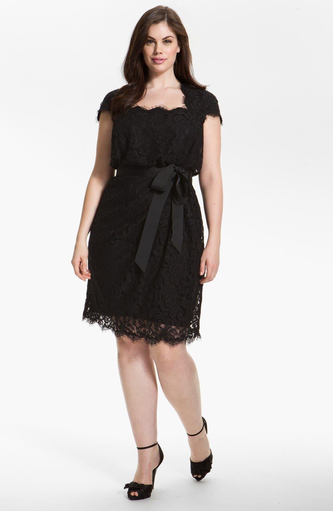 Main Image - Tadashi Shoji Cap Sleeve Lace Sheath Dress (Plus)