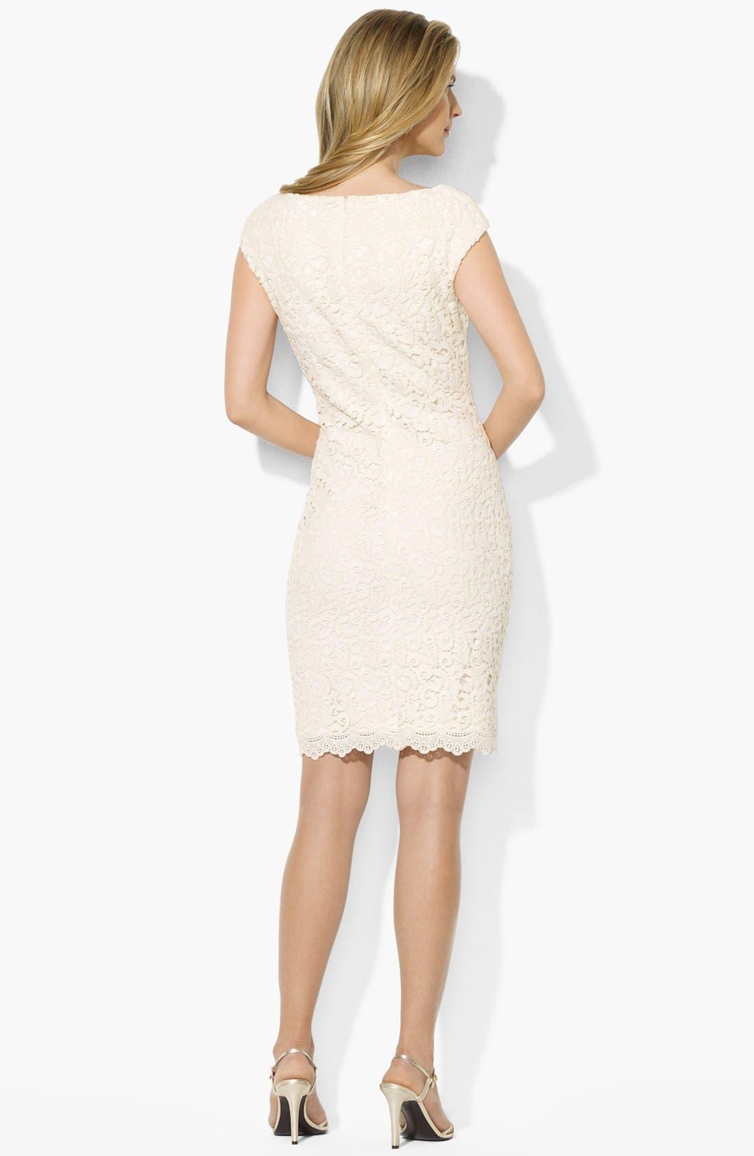 Alternate Image 2  - Lauren Ralph Lauren Lace Cotton Sheath Dress