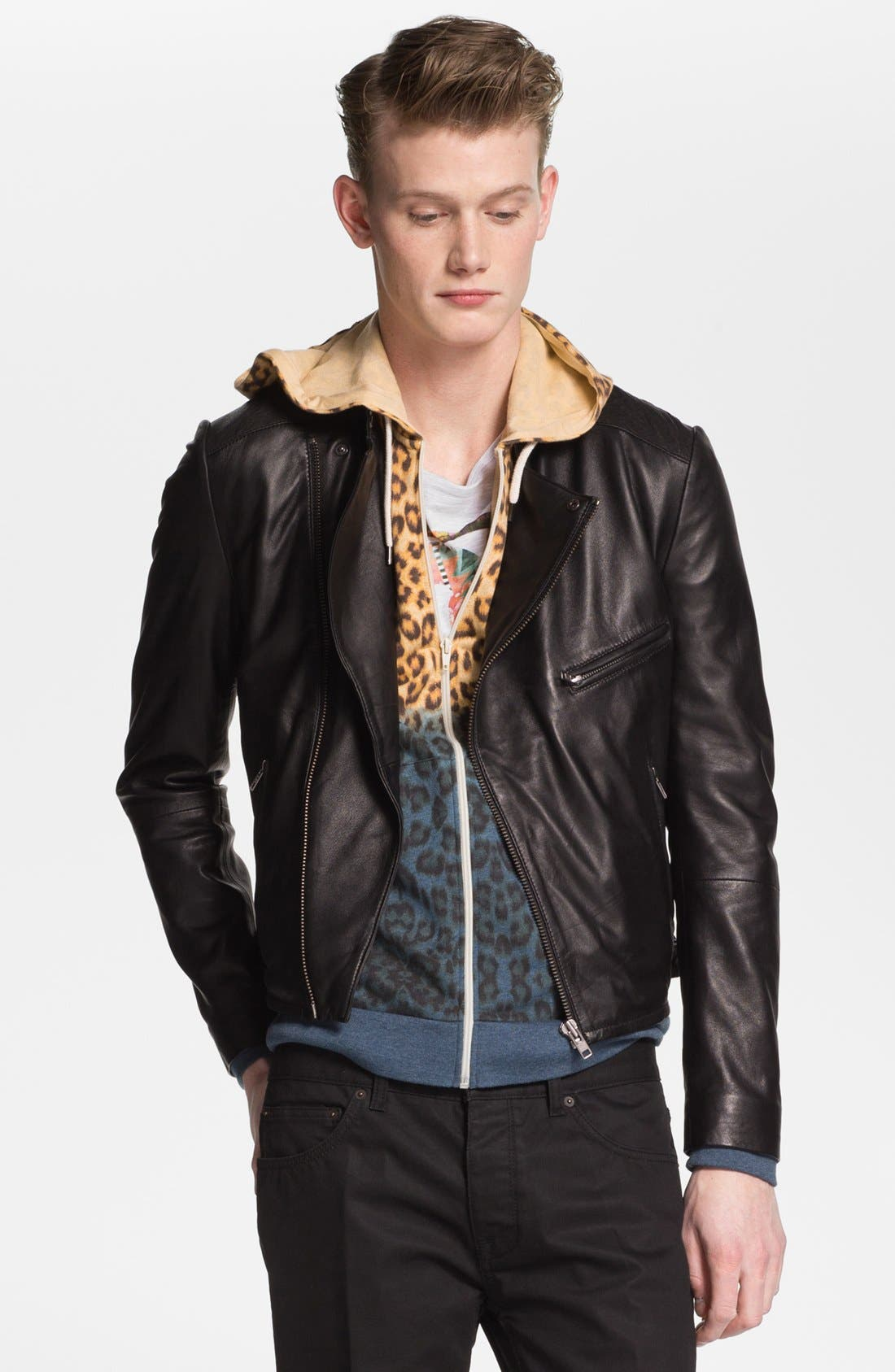 Main Image - Topman 'Lux Collection' Lambskin Leather Biker Jacket