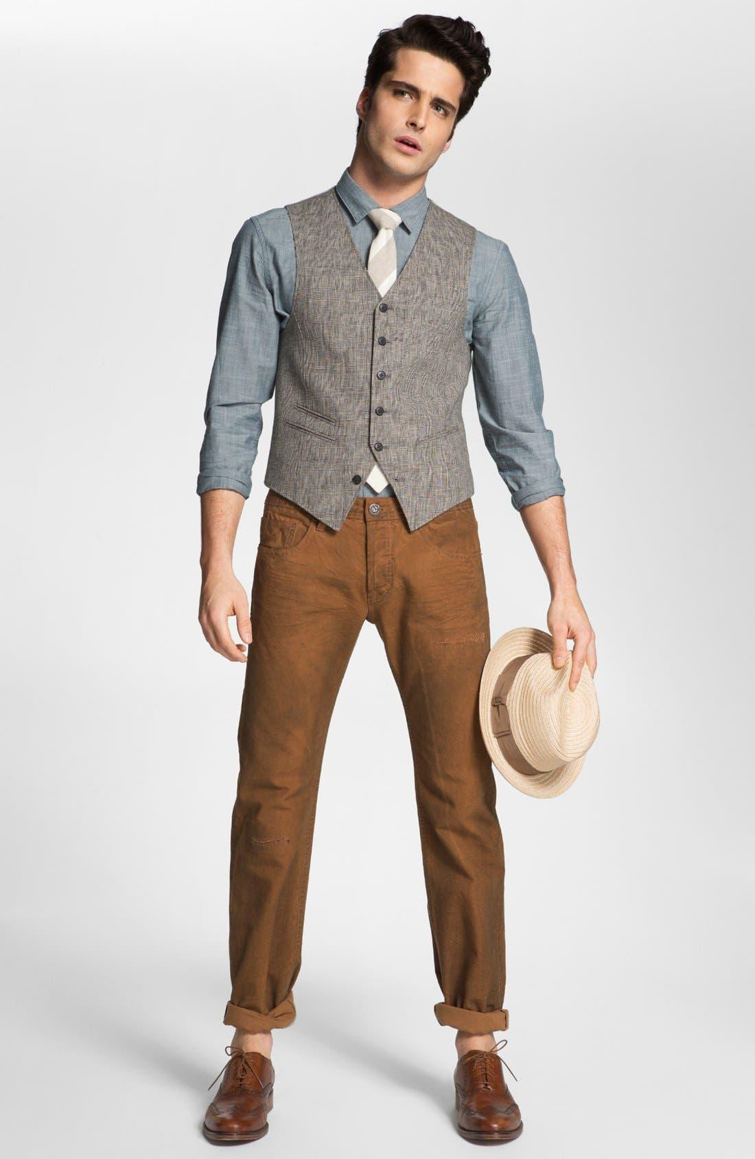 Alternate Image 1 Selected - John Varvatos Star USA Vest, 1901 Sport Shirt & Cult of Individuality Jeans
