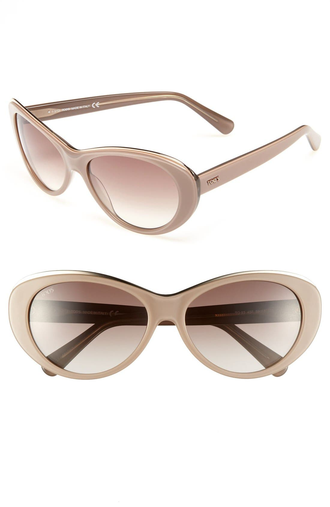 Main Image - Tod's 59mm Metal Trim Sunglasses