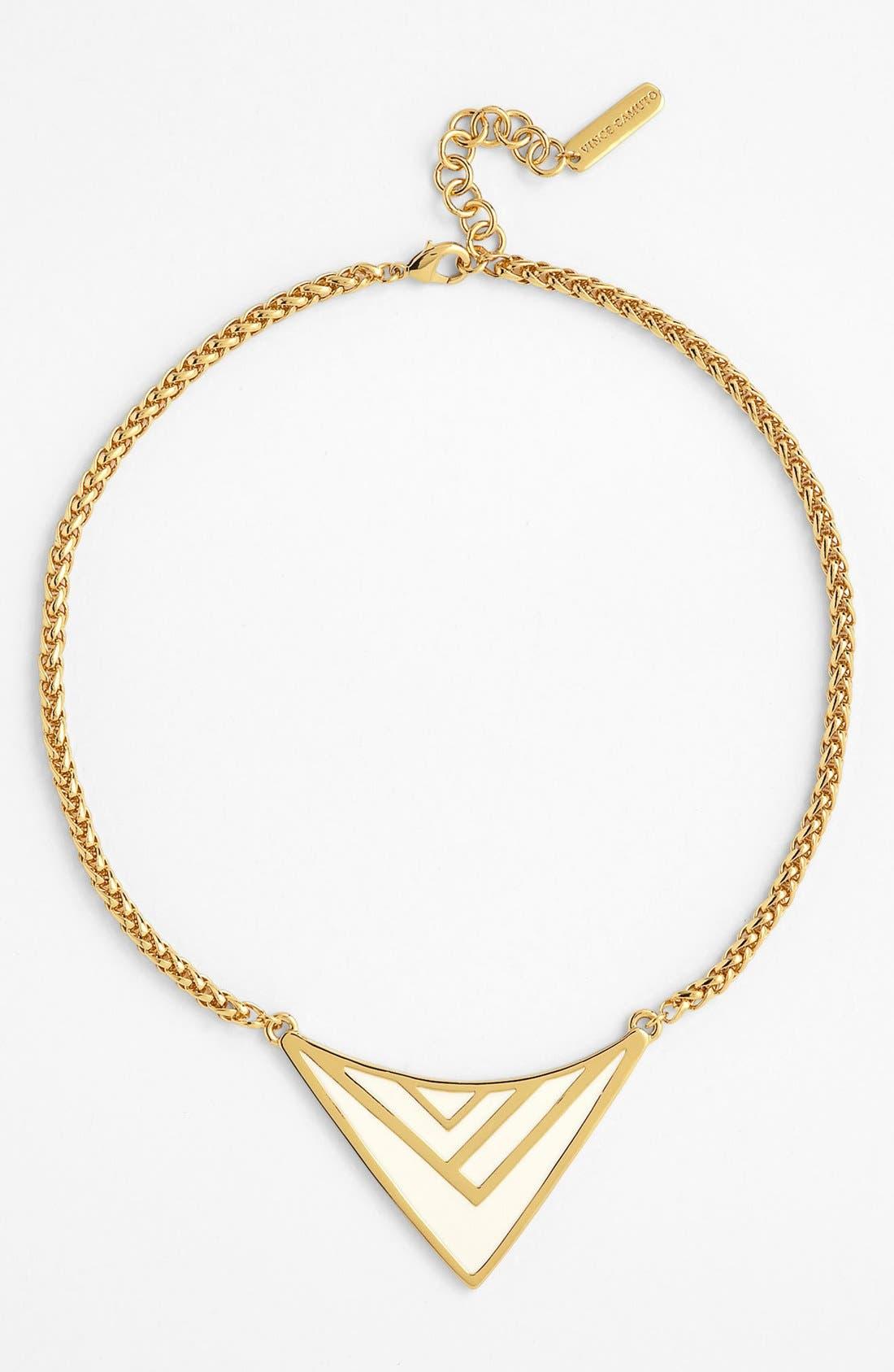 Main Image - Vince Camuto Enamel Chevron Pendant Necklace