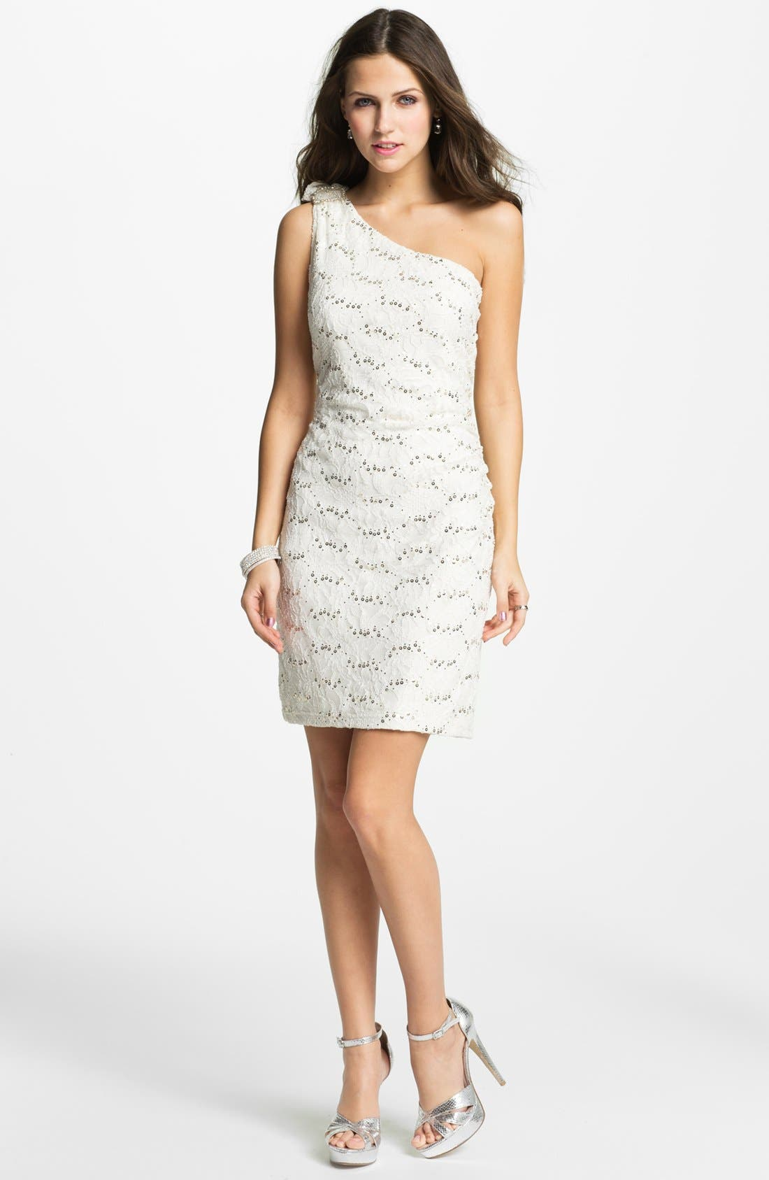 Main Image - Hailey by Adrianna Papell Embellished One Shoulder Lace Dress (Online Only)