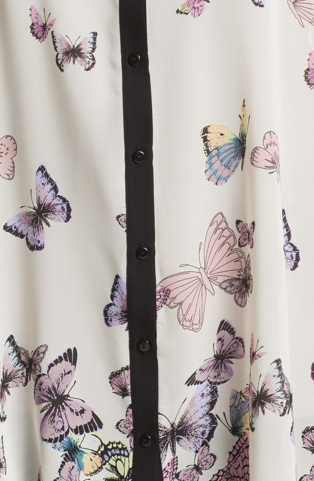 Alternate Image 3  - Evans Butterfly Print Shirt (Plus Size)