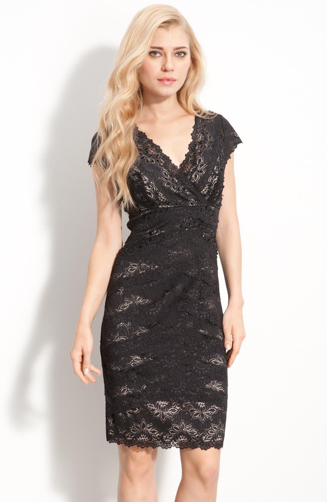 Main Image - JS Collections Layered Lace Sheath Dress (Petite)