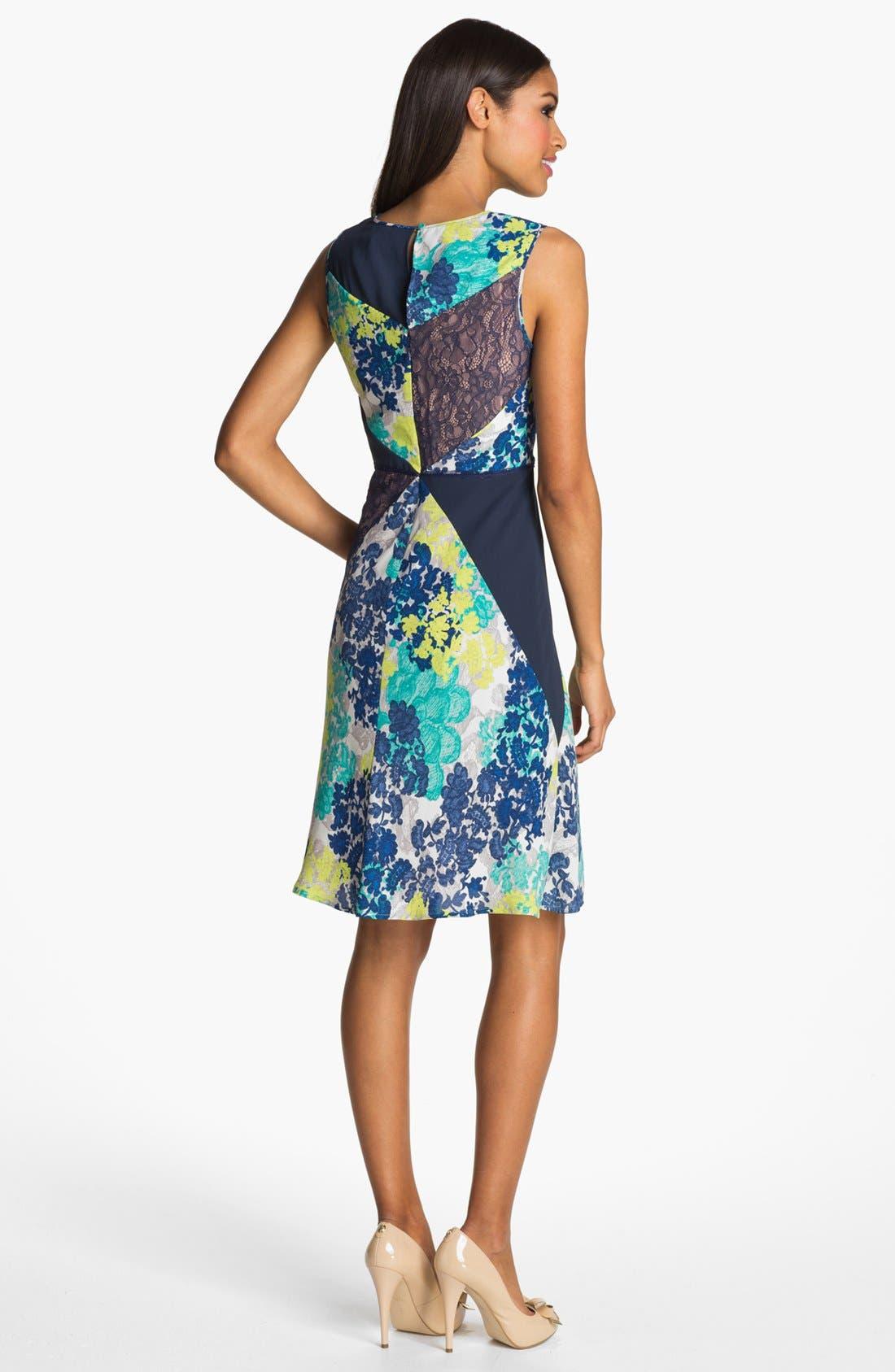 Alternate Image 2  - BCBGMAXAZRIA Mixed Print & Lace Sheath Dress