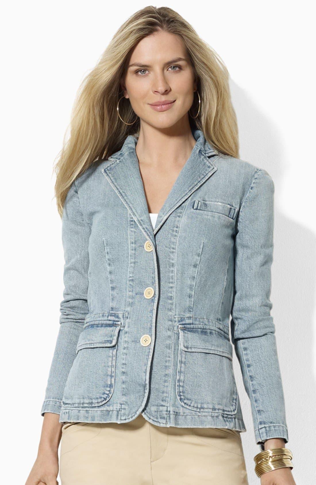 Main Image - Lauren Ralph Lauren Three Button Denim Blazer (Petite) (Online Only)