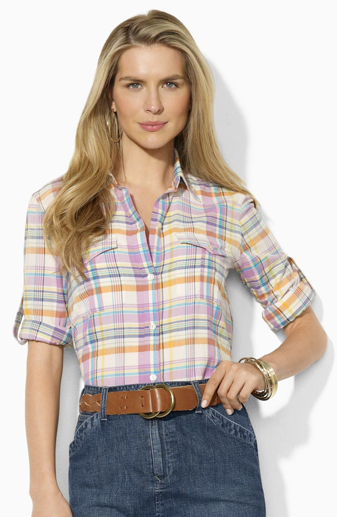 Alternate Image 1 Selected - Lauren Ralph Lauren Fitted Plaid Shirt (Petite) (Online Only)