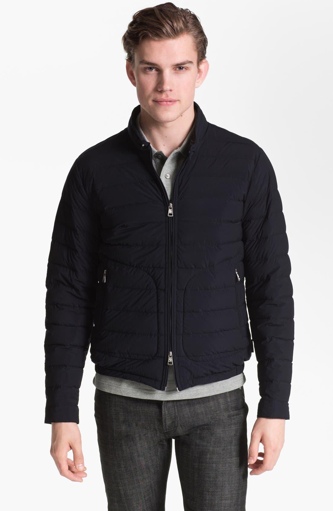 Main Image - Moncler 'Acorus' Matte Down Moto Jacket