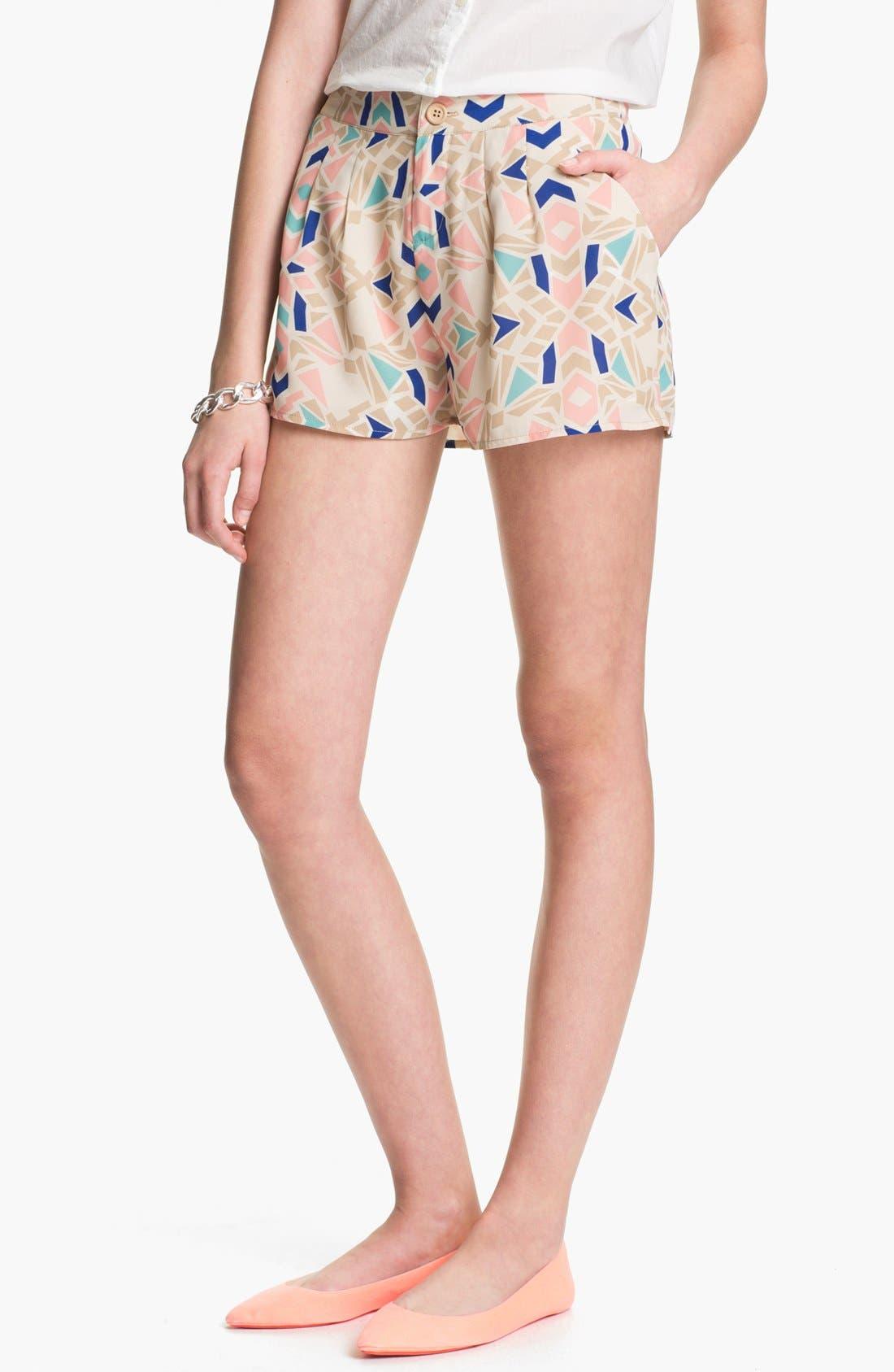Main Image - Blu Pepper Geo Print Pleated Shorts (Juniors)