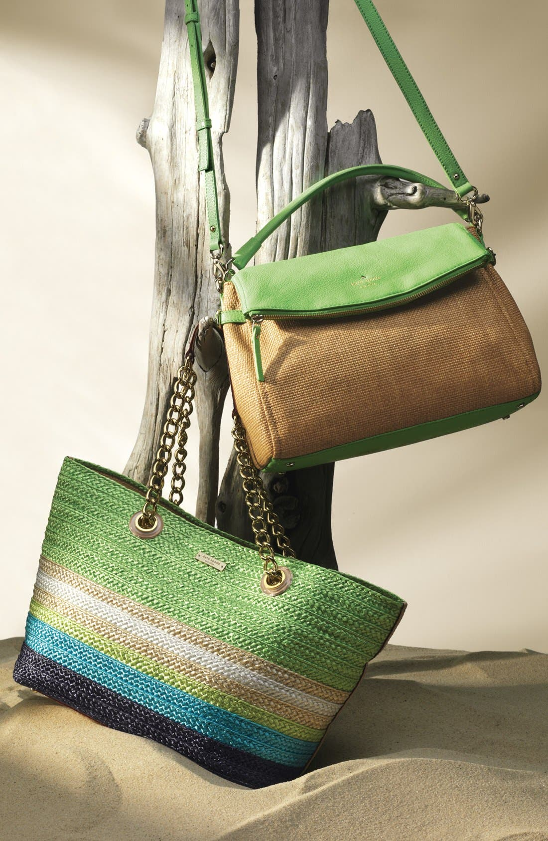 Alternate Image 2  - kate spade new york 'cobble hill - little minka' straw foldover bag