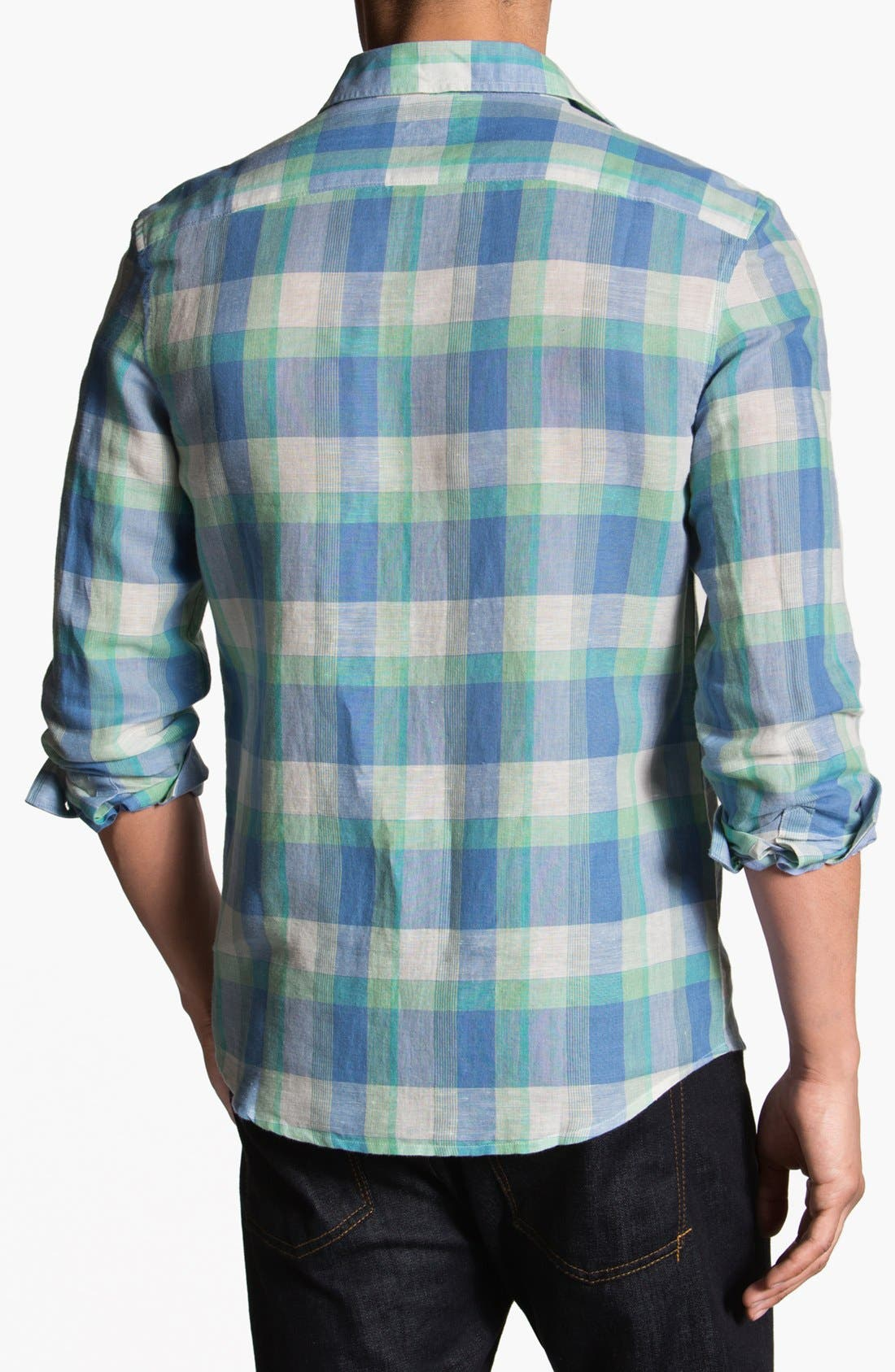 Alternate Image 3  - Original Penguin Heritage Fit Plaid Linen Blend Shirt