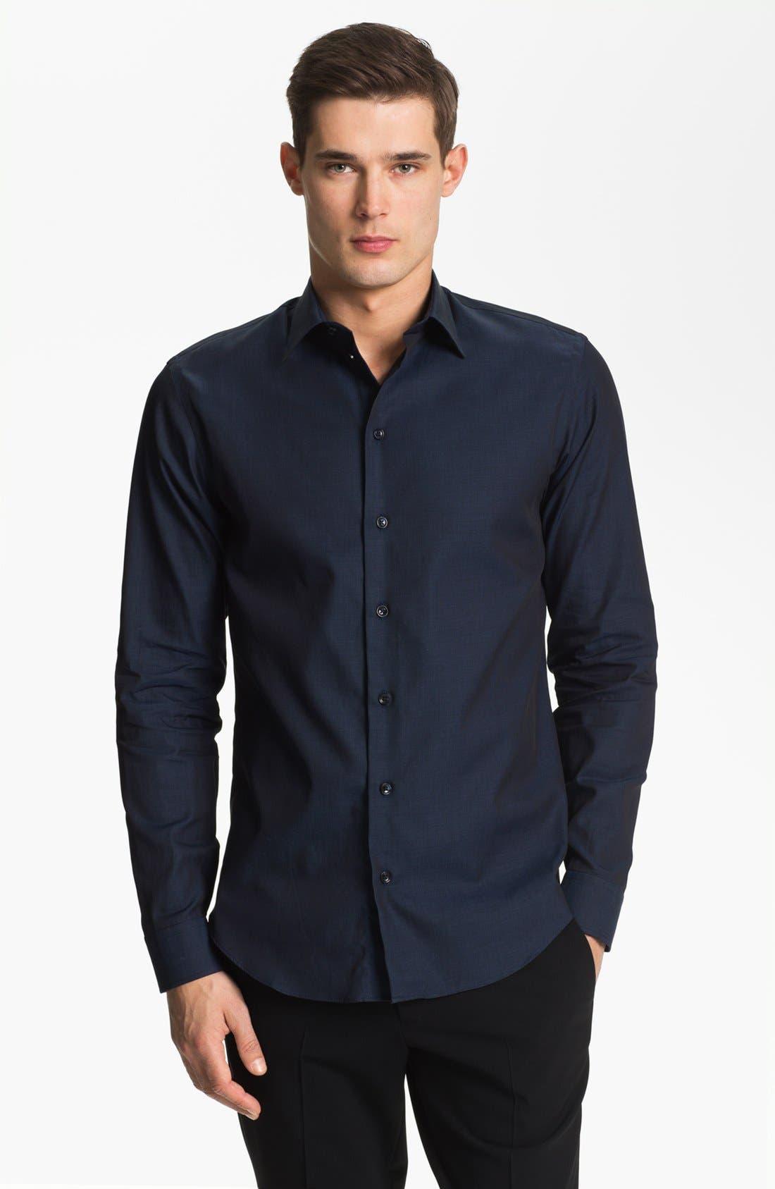Alternate Image 1 Selected - Armani Collezioni Piqué Cotton Sport Shirt