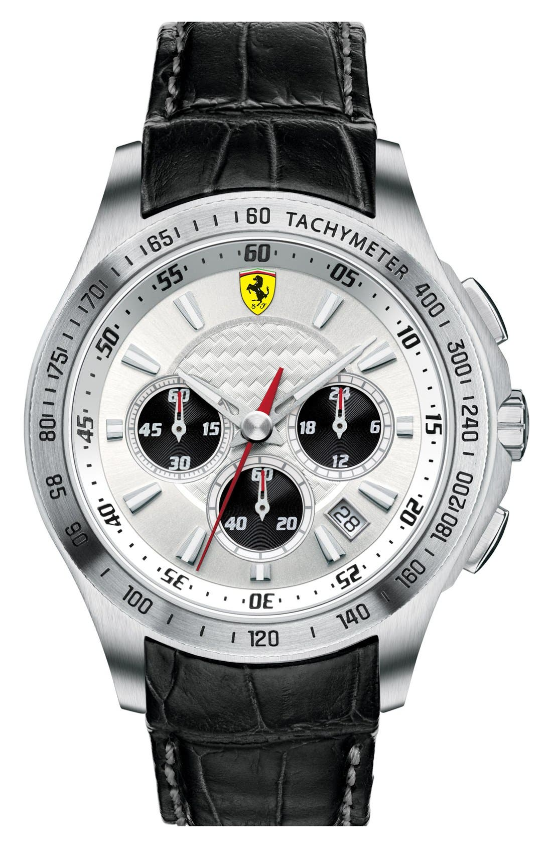 Main Image - Scuderia Ferrari Chronograph Leather Strap Watch, 44mm