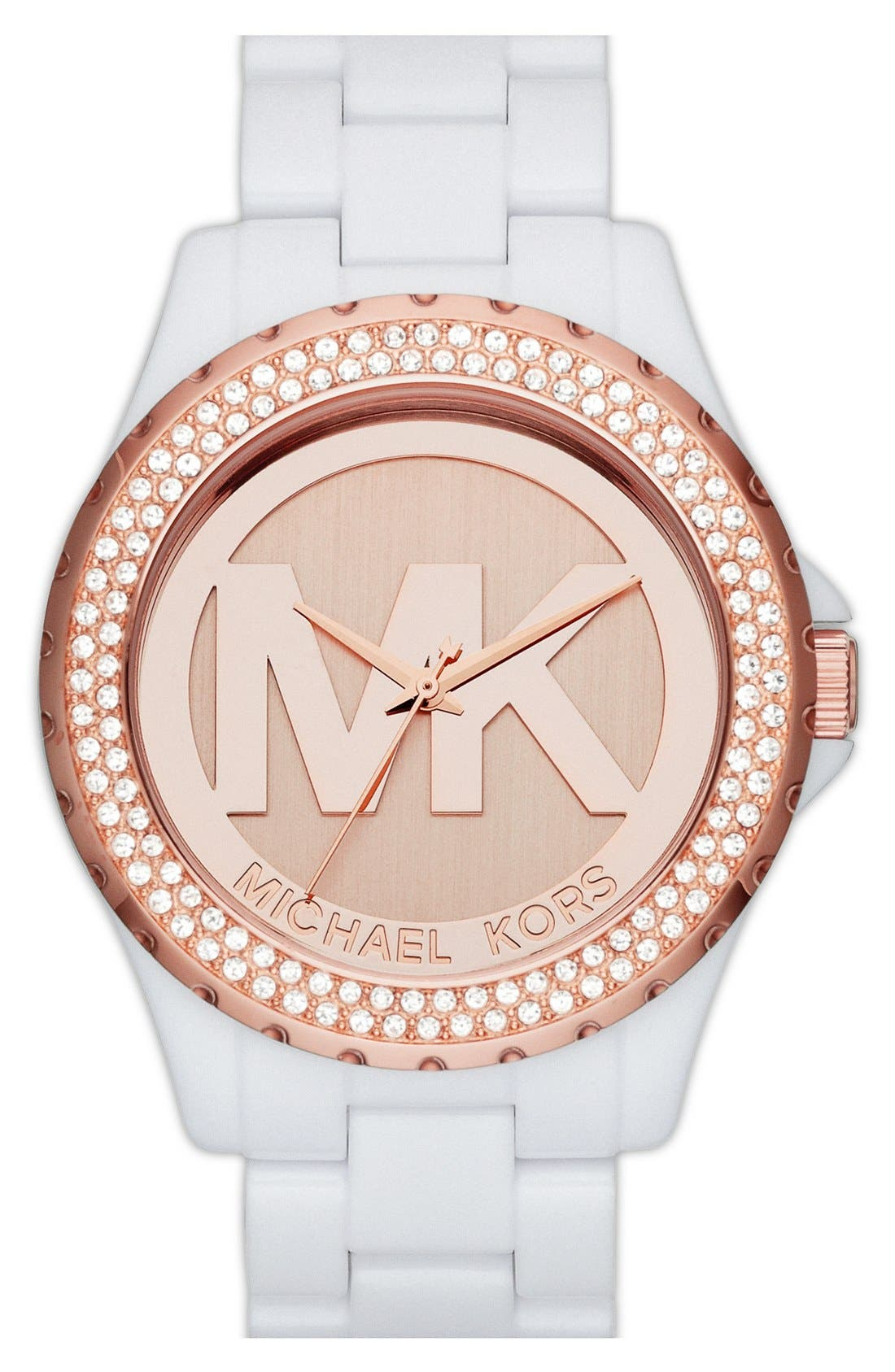 Main Image - Michael Kors 'Madison' Crystal Bezel Logo Watch, 42mm