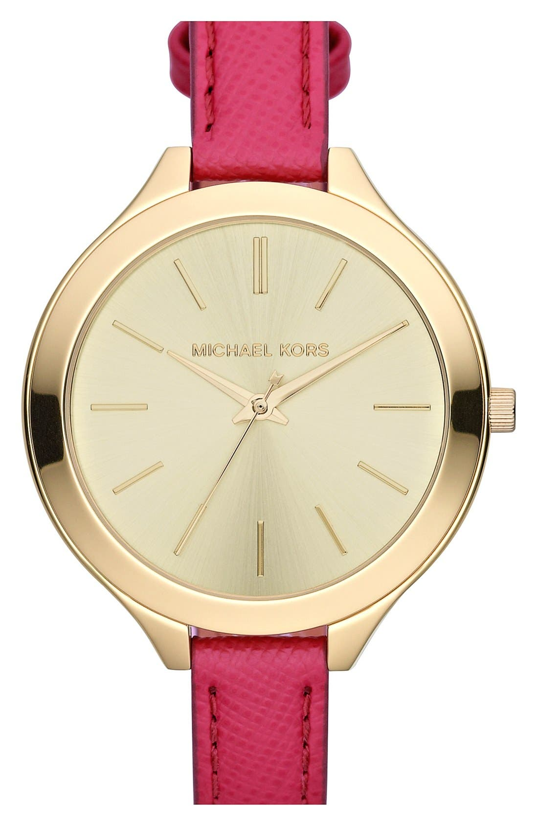 Main Image - Michael Kors 'Slim Runway' Leather Strap Watch, 42mm