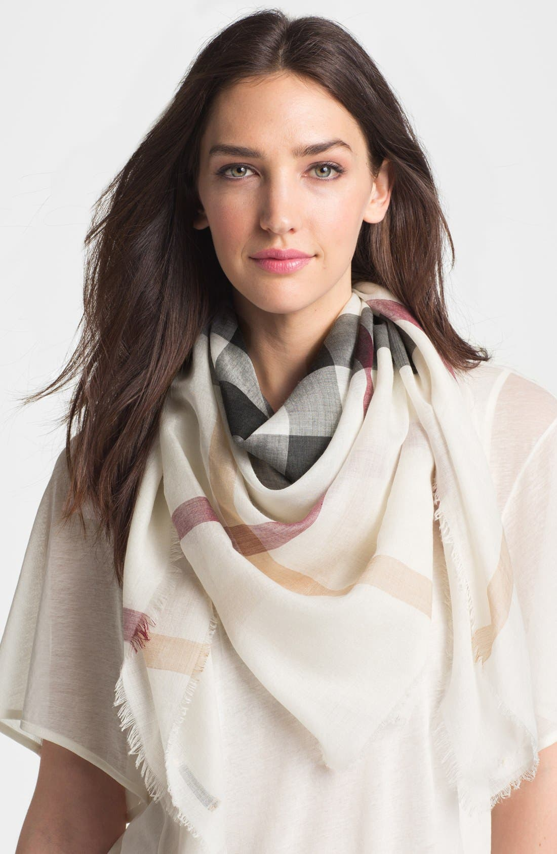 Main Image - Burberry Multicolored Wool & Silk Gauze Scarf