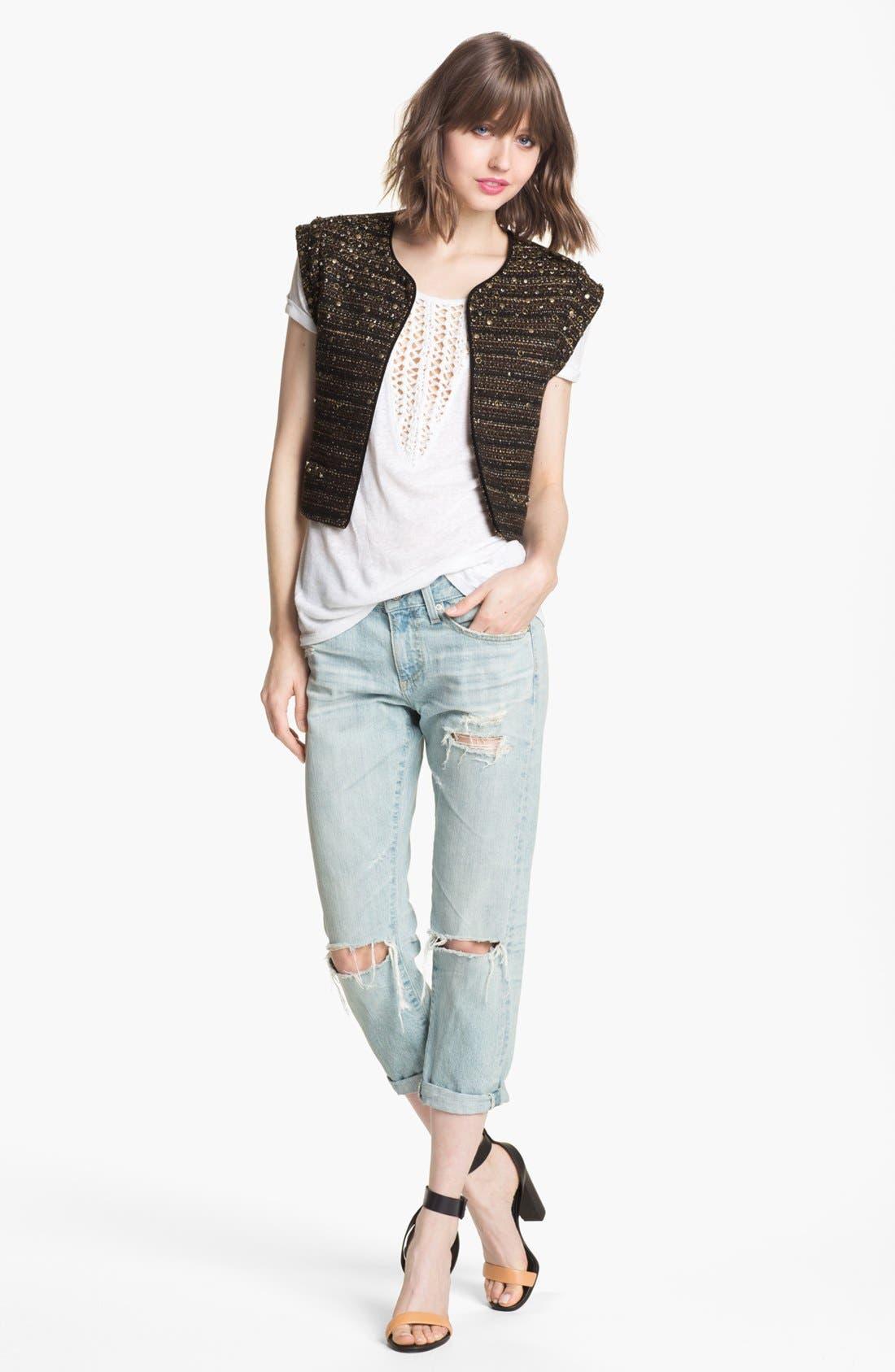 Alternate Image 2  - Trouvé Open Weave Bib Linen Blend Sweater