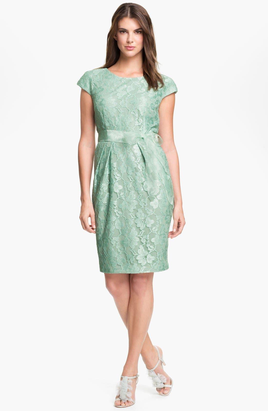 Alternate Image 1  - Alex Evenings Cap Sleeve Lace Sheath Dress