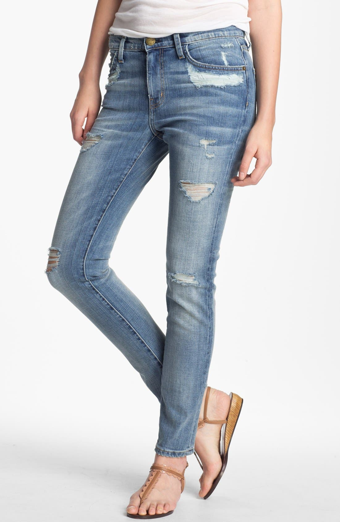 Main Image - Current/Elliott 'The Stiletto' Distressed Stretch Jeans (Shipwreck Destroy)