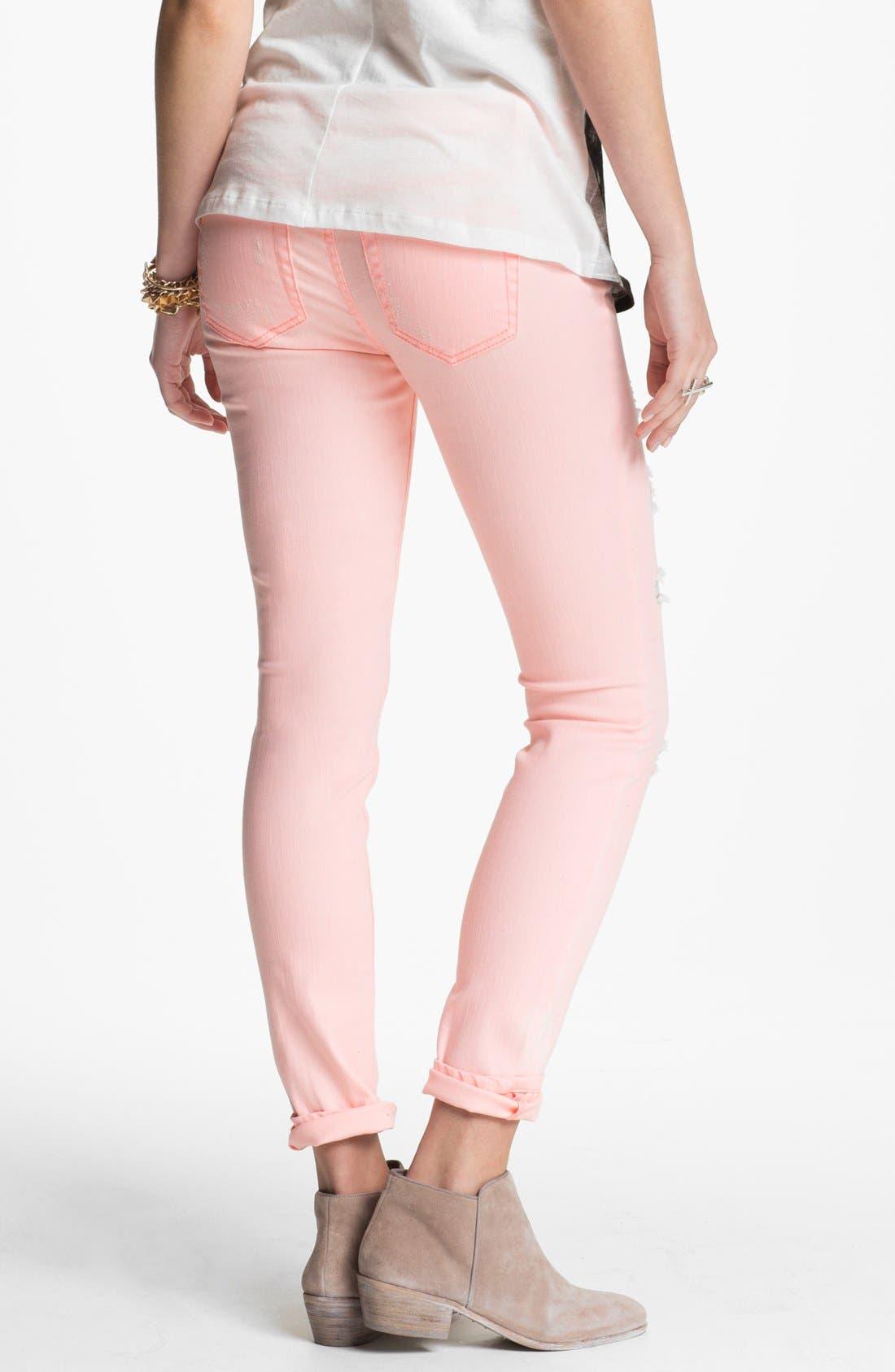 Alternate Image 2  - Fire Destroyed Pastel Denim Skinny Jeans (Juniors) (Online Only)