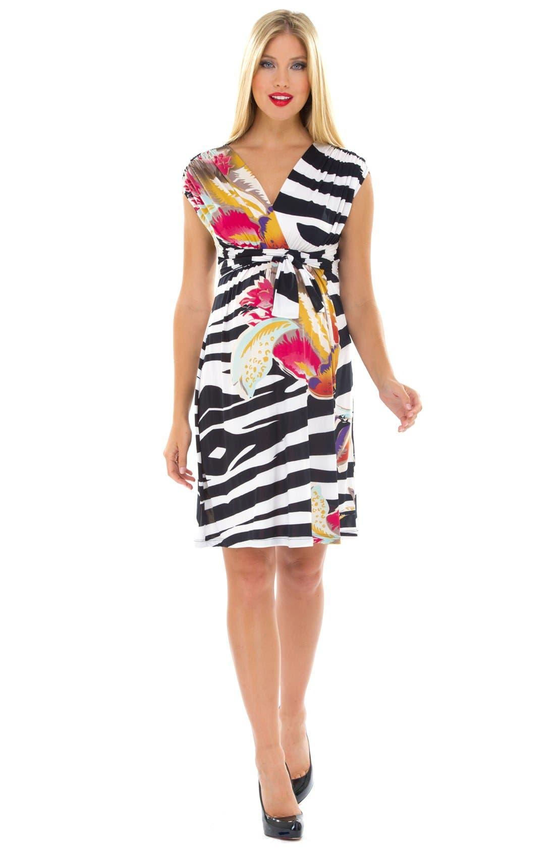 Main Image - Olian Print Surplice Maternity Dress