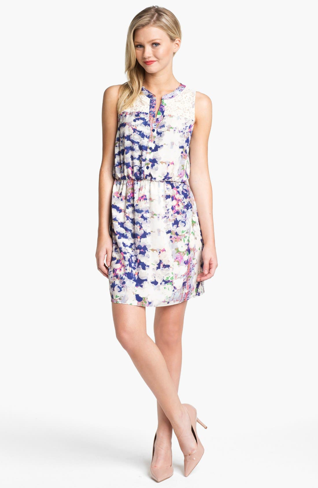 Alternate Image 1 Selected - Collective Concepts Print Lace Detail Shirtdress