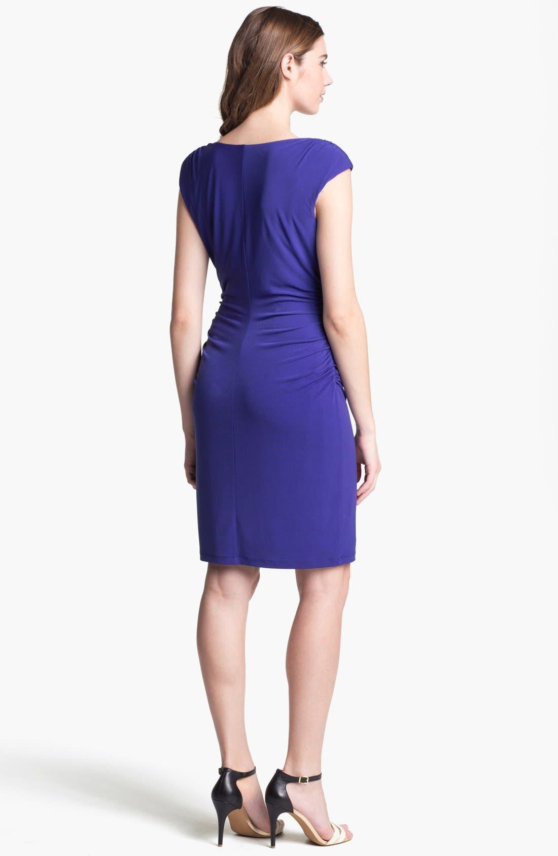 Alternate Image 2  - Ivy & Blu Ruched Cap Sleeve Jersey Dress