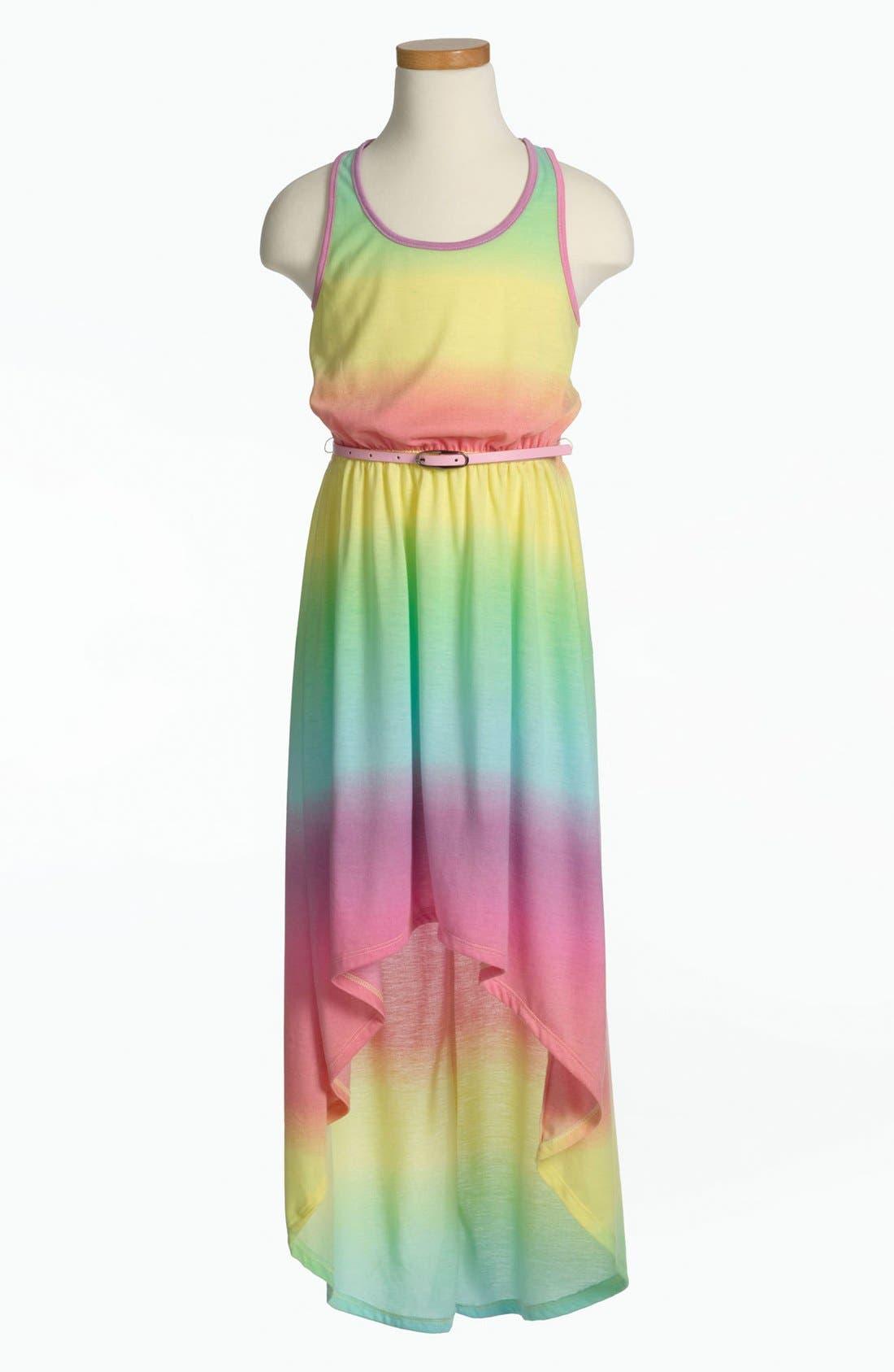 Alternate Image 1 Selected - Fire Tie Dye Dress (Little Girls & Big Girls)