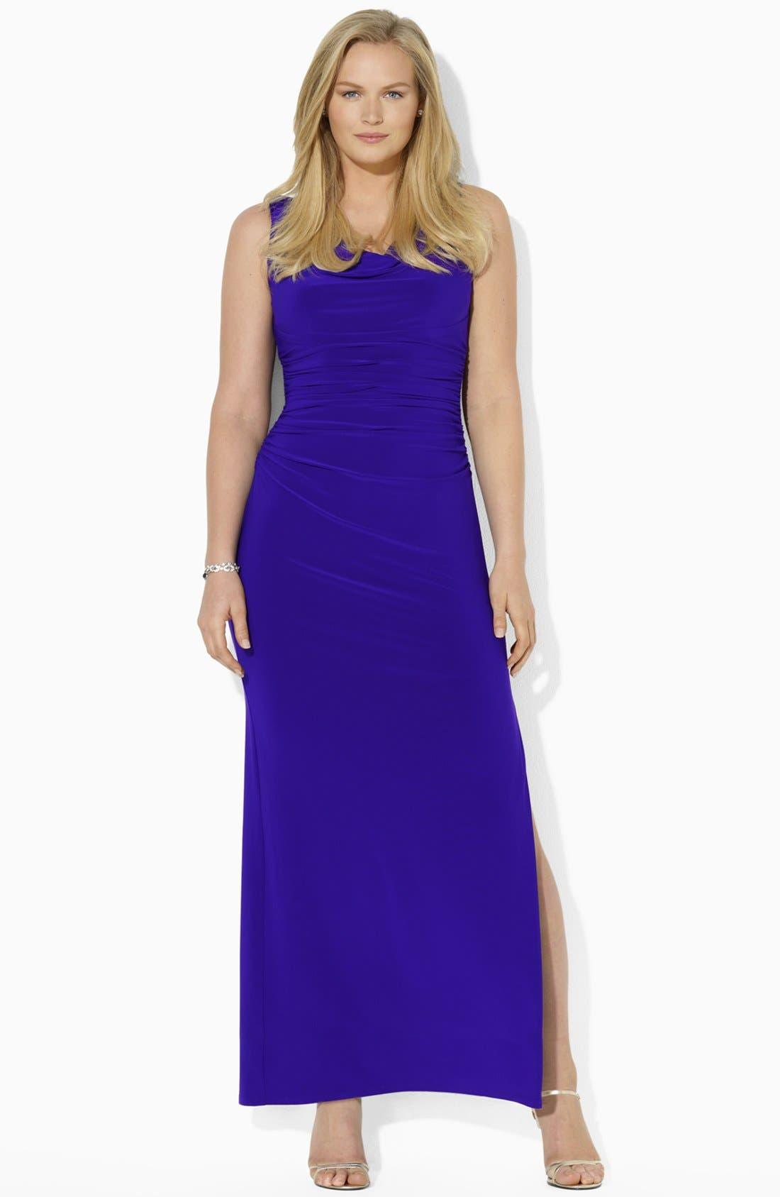 Alternate Image 1 Selected - Lauren Ralph Lauren Sleeveless Jersey Gown (Plus Size)