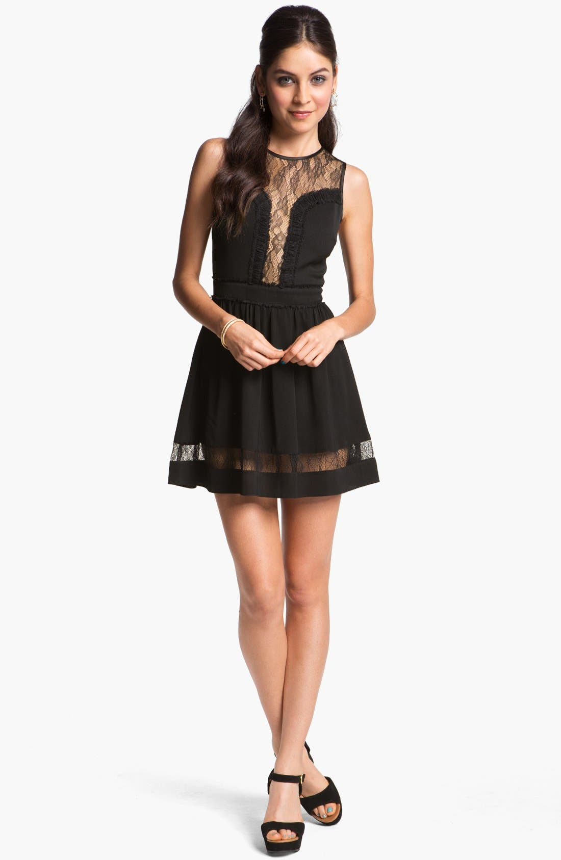 Alternate Image 1 Selected - En Crème Lace Illusion Skater Dress (Juniors)