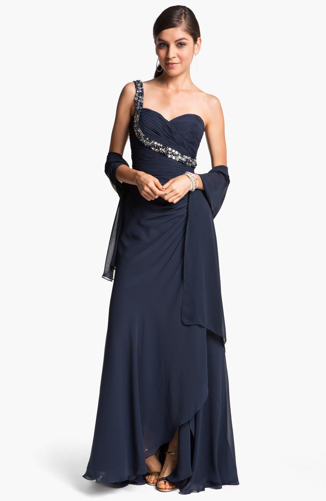 Main Image - Faviana Embellished One Shoulder Chiffon Gown & Shawl