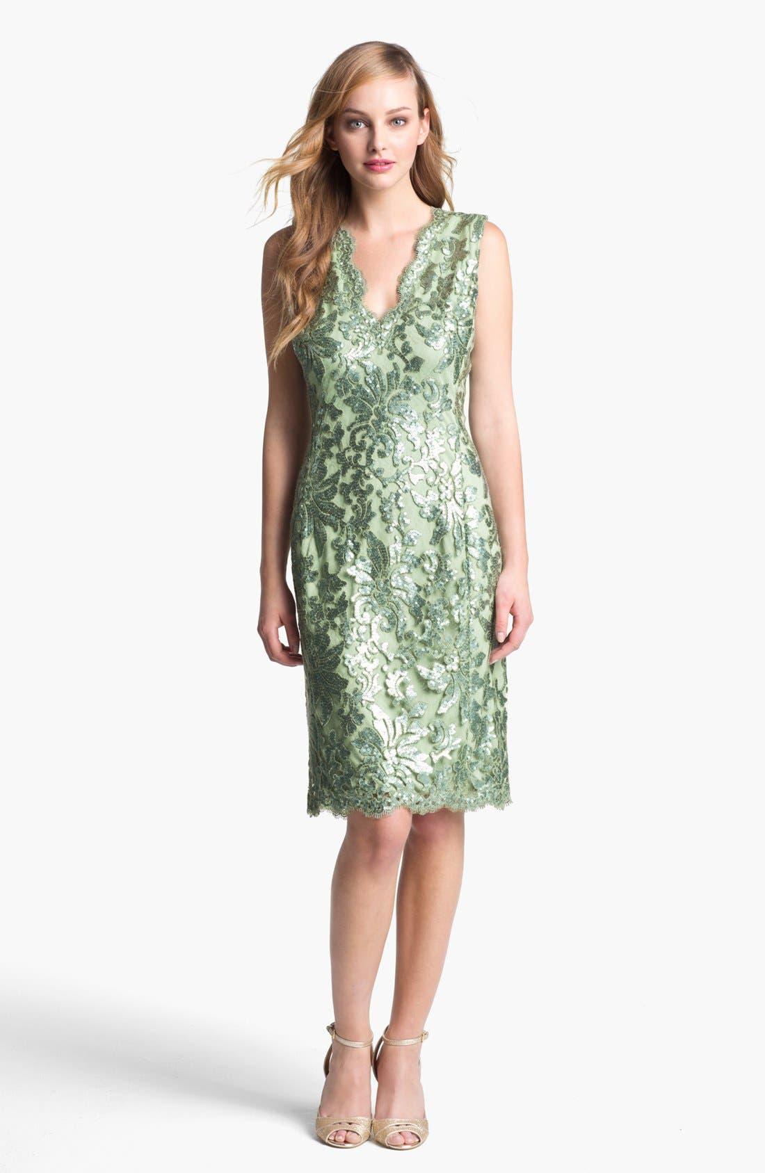 Alternate Image 1 Selected - Tadashi Shoji V-Neck Sequin Lace Sheath Dress