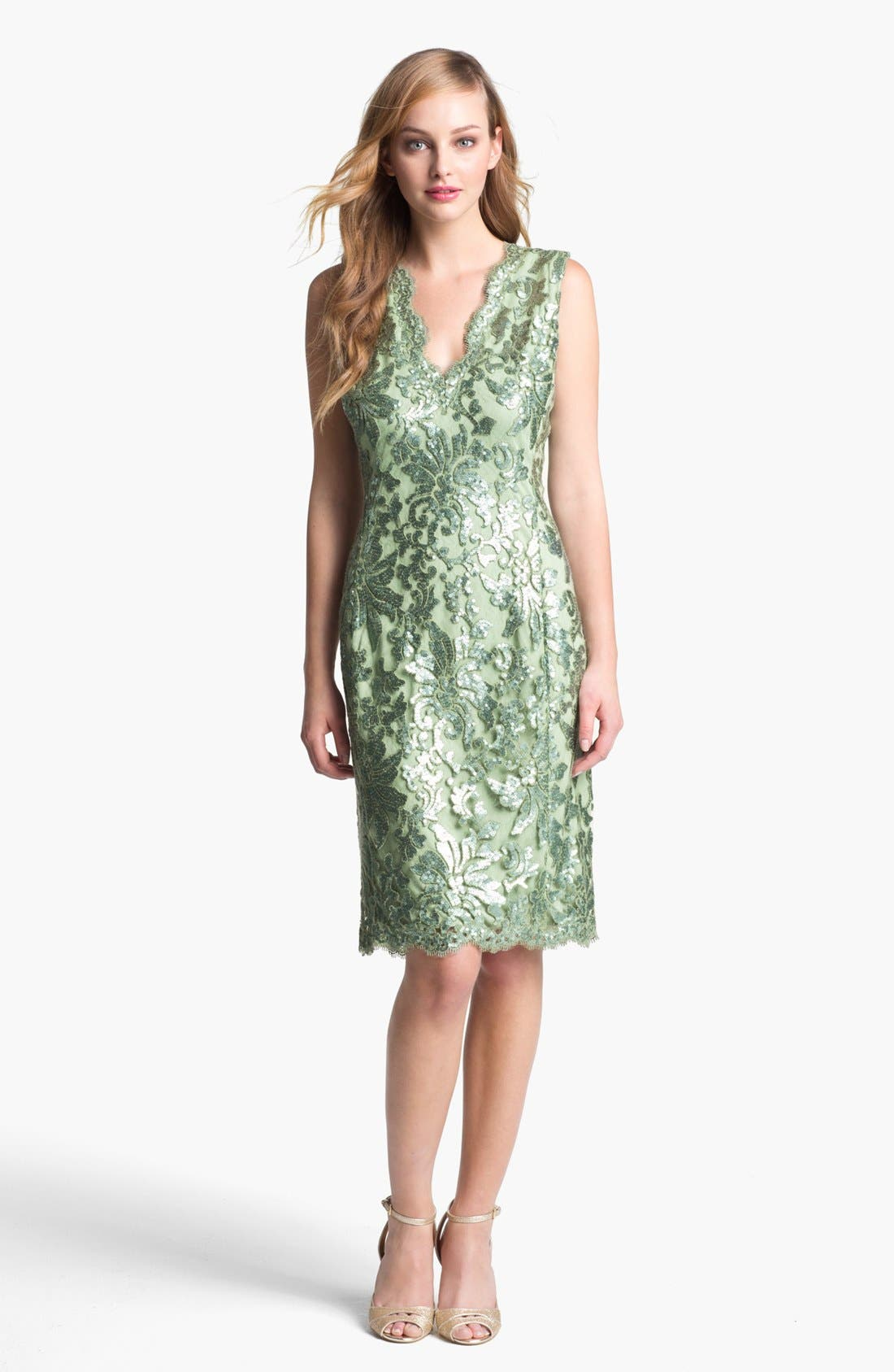 Main Image - Tadashi Shoji V-Neck Sequin Lace Sheath Dress
