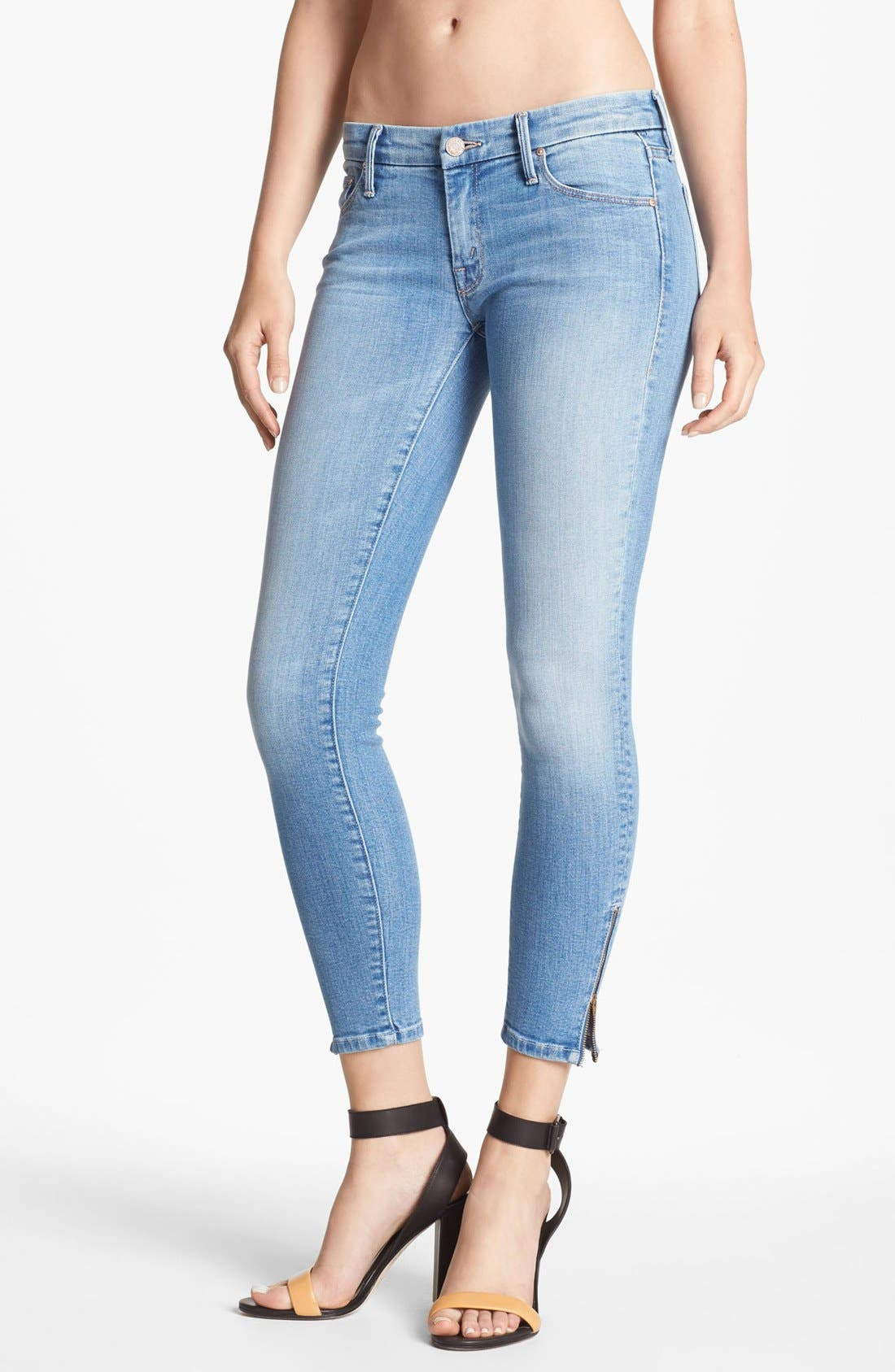 Main Image - MOTHER 'The Looker' Ankle Zip Skinny Jeans (Light Kitty)