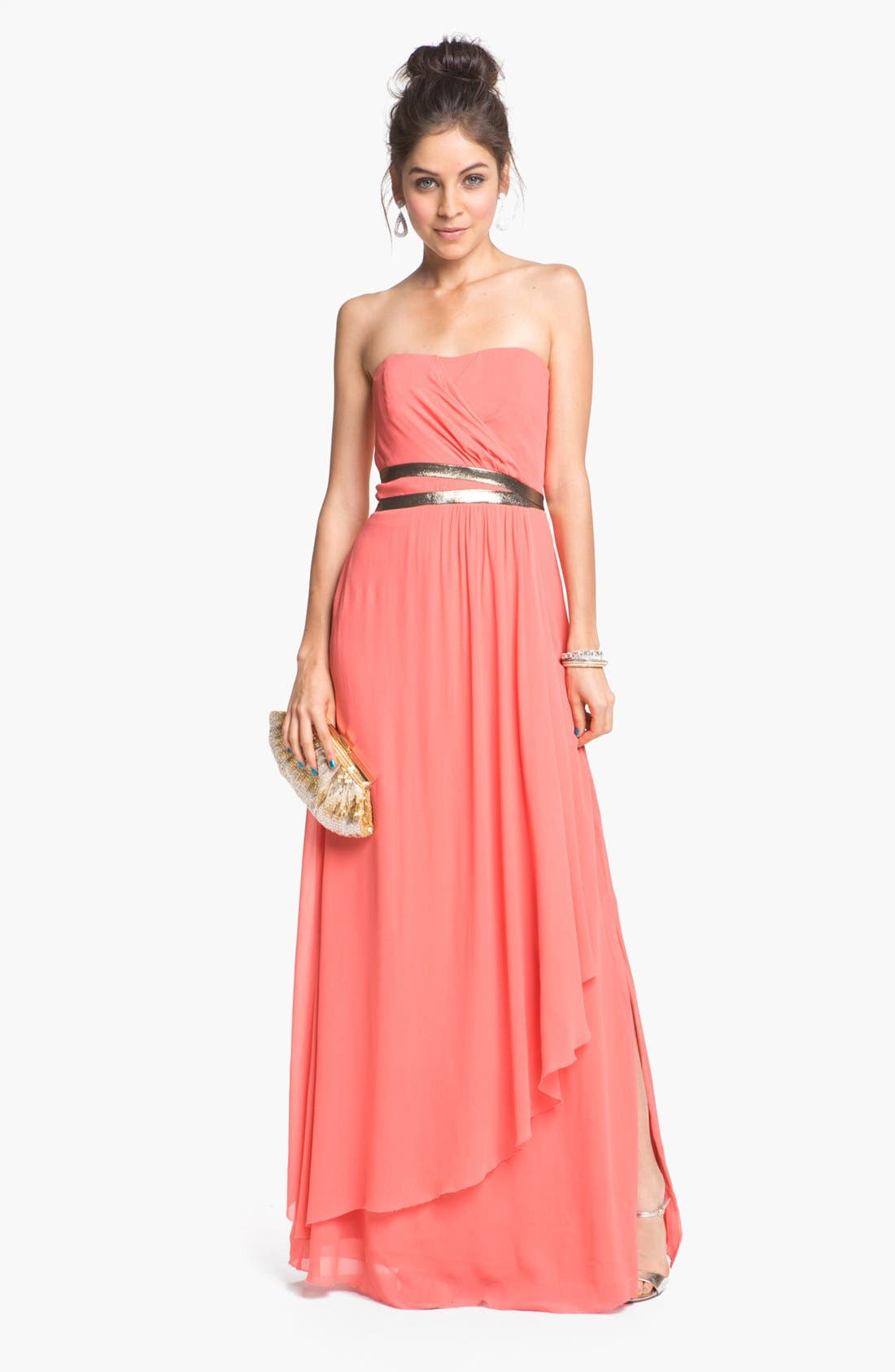 Main Image - Nicole Miller Strapless Georgette Gown