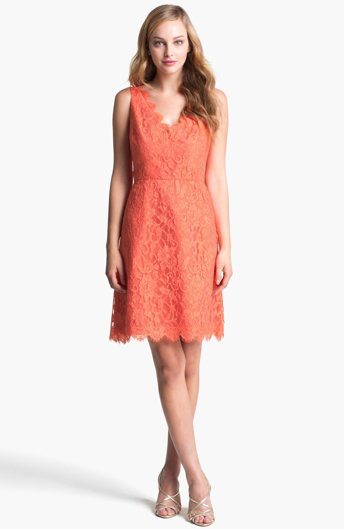 Alternate Image 1 Selected - ML Monique Lhuillier Lace Fit & Flare Dress