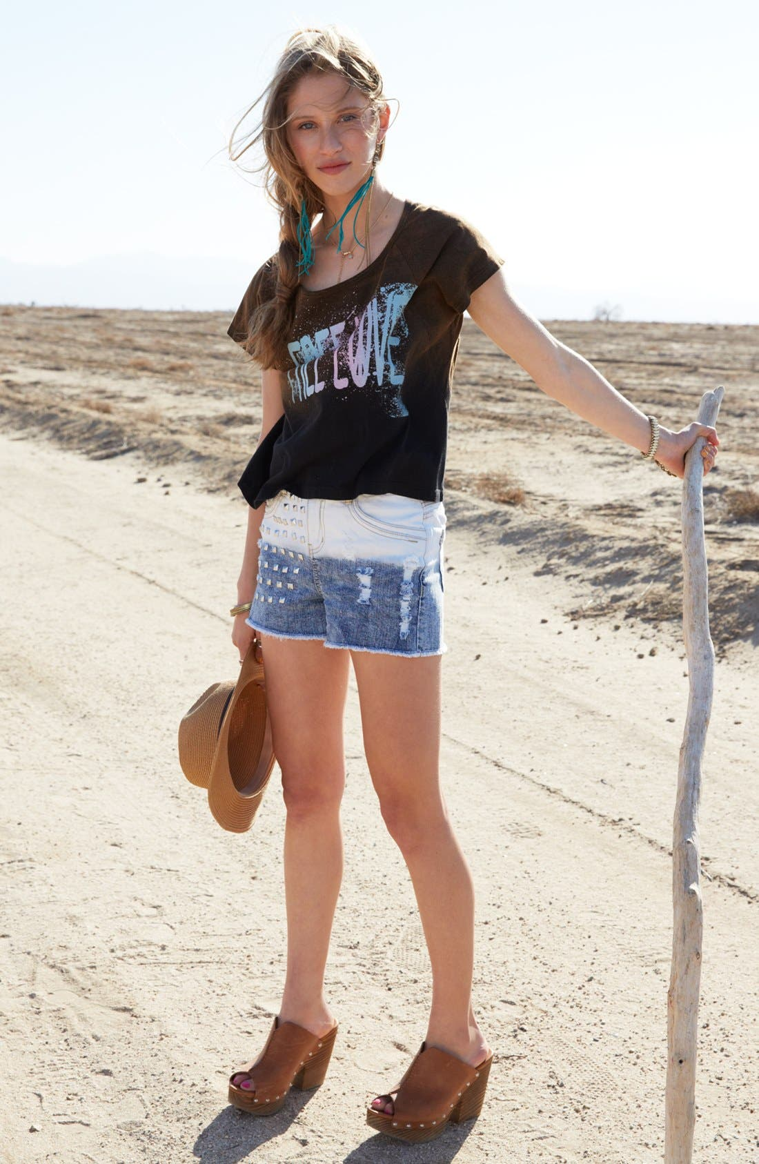 Alternate Image 5  - Jolt Stud Dip Dye High Waist Denim Shorts (Juniors)
