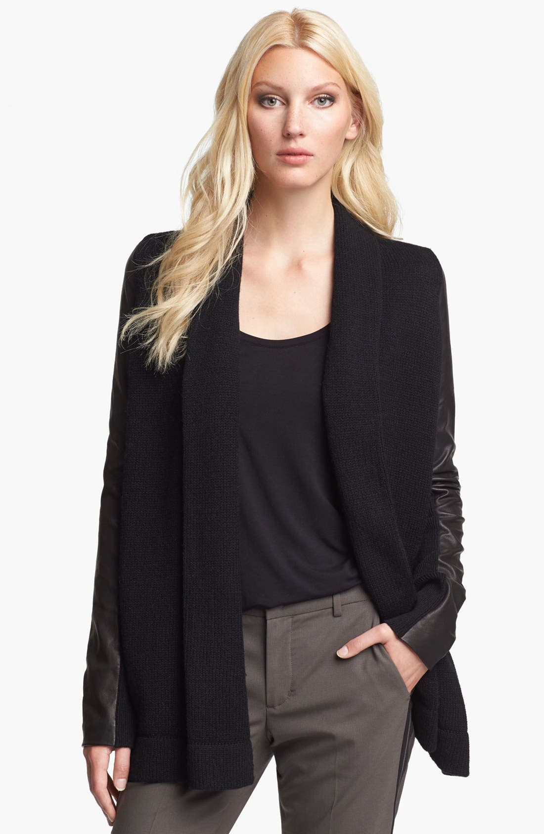 Main Image - Vince Leather Sleeve Cardigan