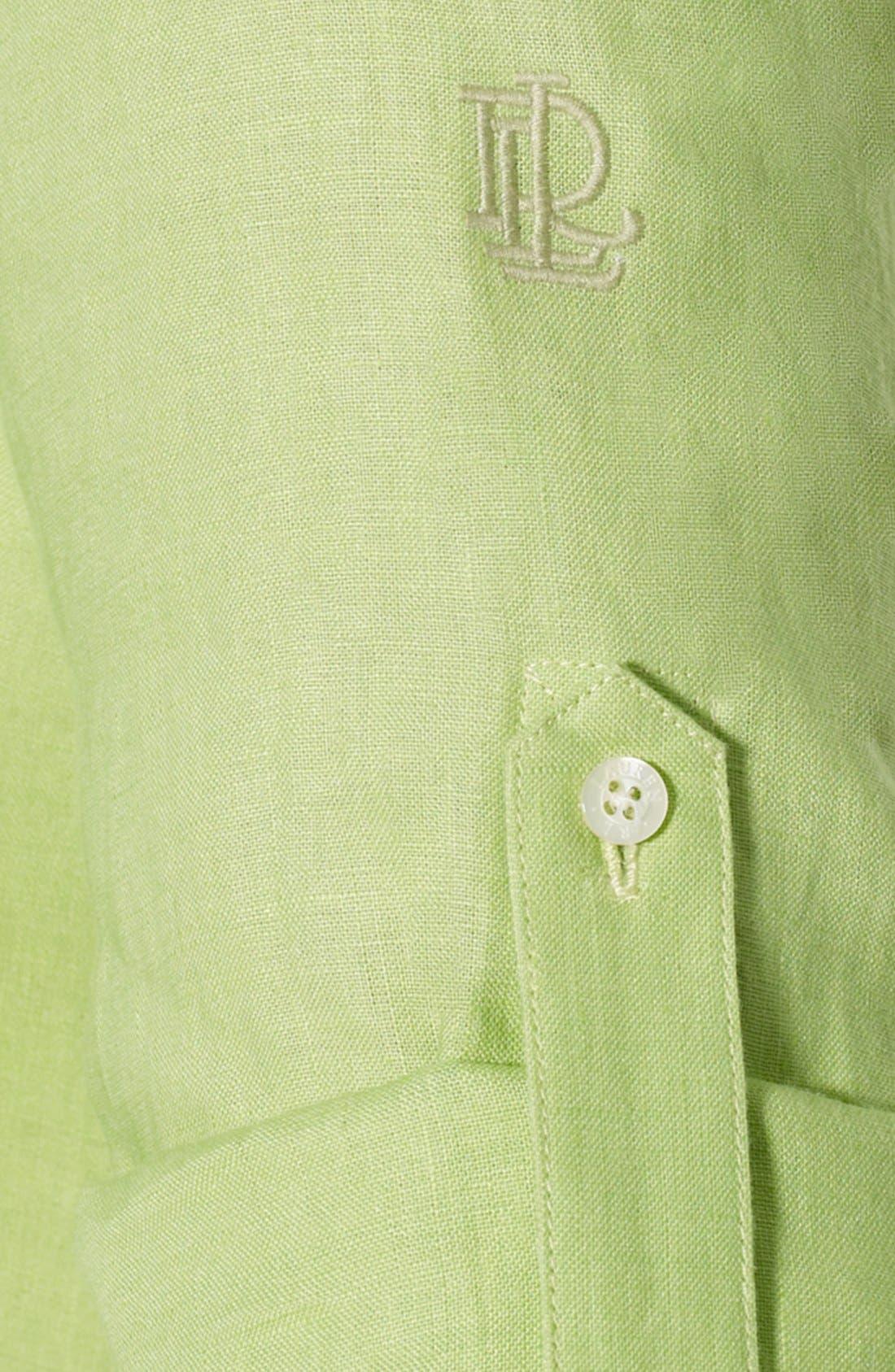 Alternate Image 4  - Lauren Ralph Lauren Linen Work Shirt (Plus Size)