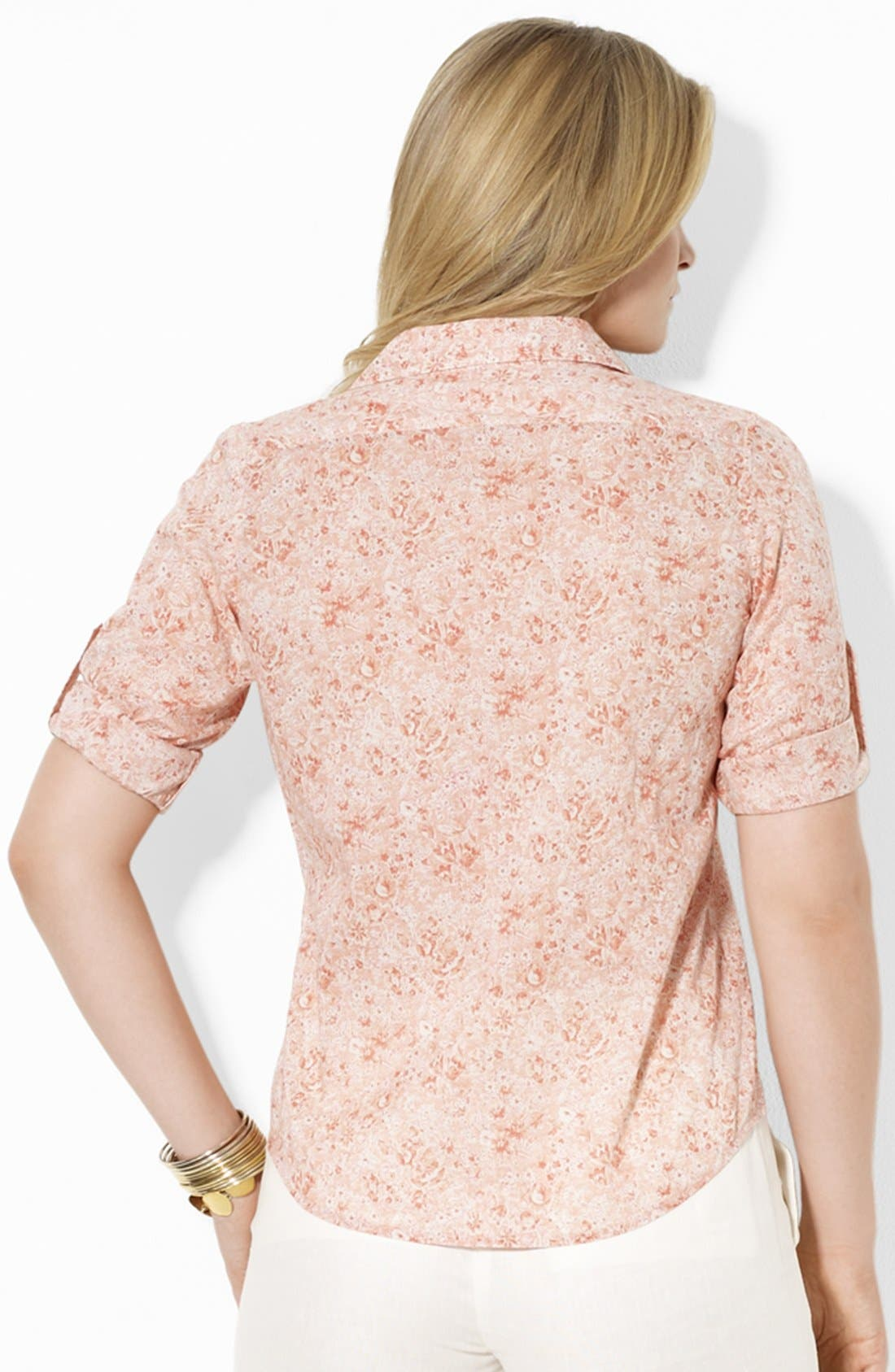Alternate Image 2  - Lauren Ralph Lauren Fitted Print Shirt (Plus)