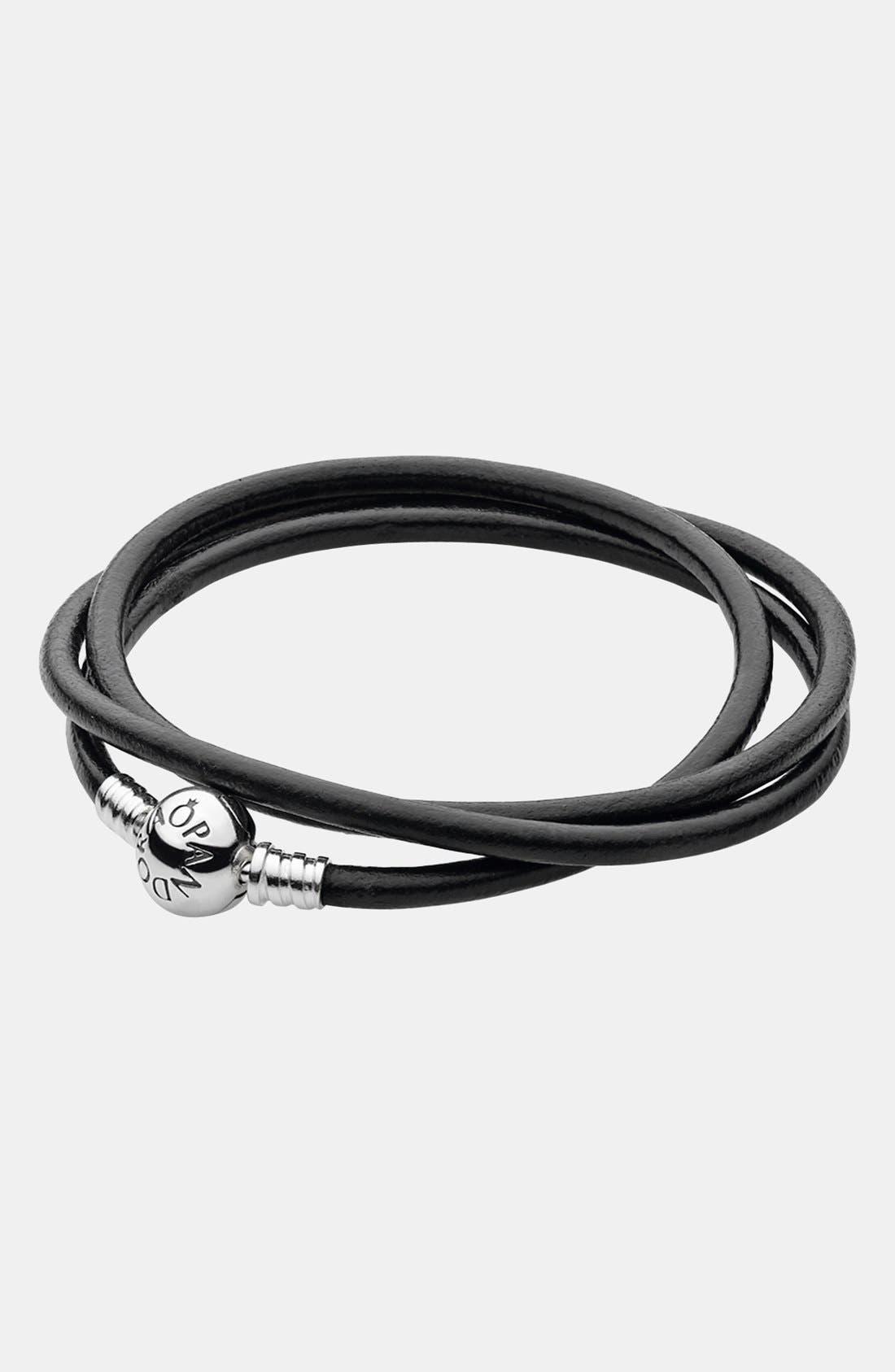 Main Image - PANDORA Leather Wrap Charm Bracelet