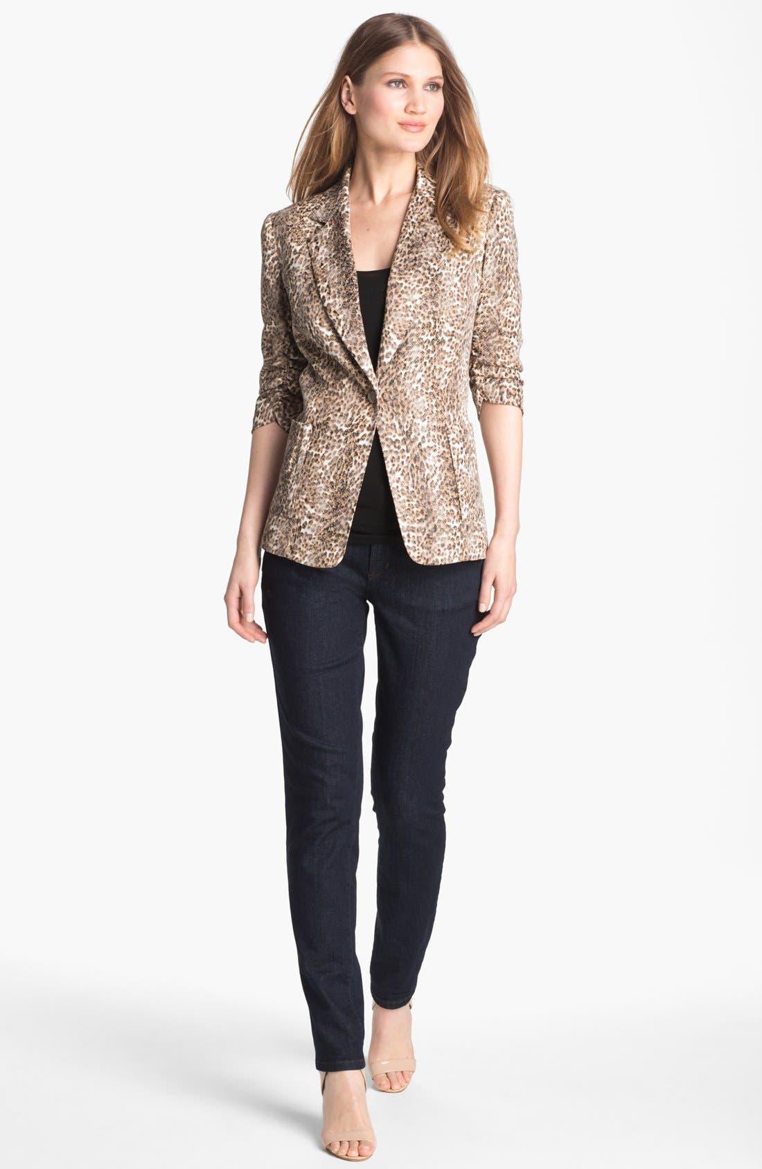 Alternate Image 4  - Alberto Makali Ruched Sleeve Cheetah Print Jacket