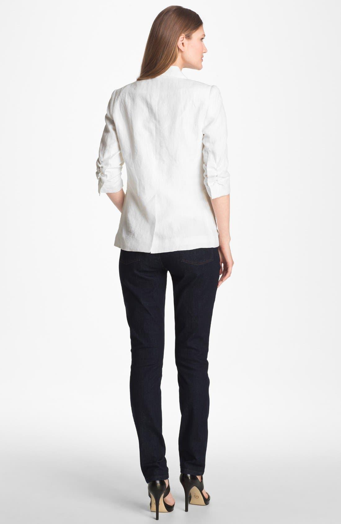 Alternate Image 4  - Alberto Makali Ruched Sleeve Linen Jacket