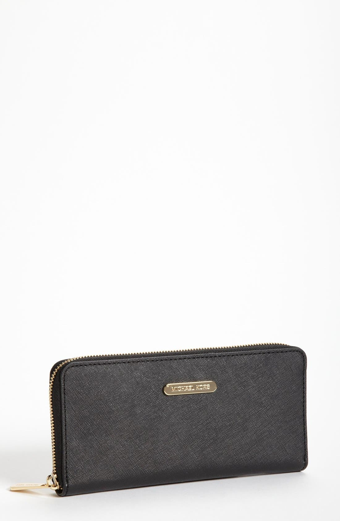Main Image - MICHAEL Michael Kors Saffiano Leather Zip Around Wallet