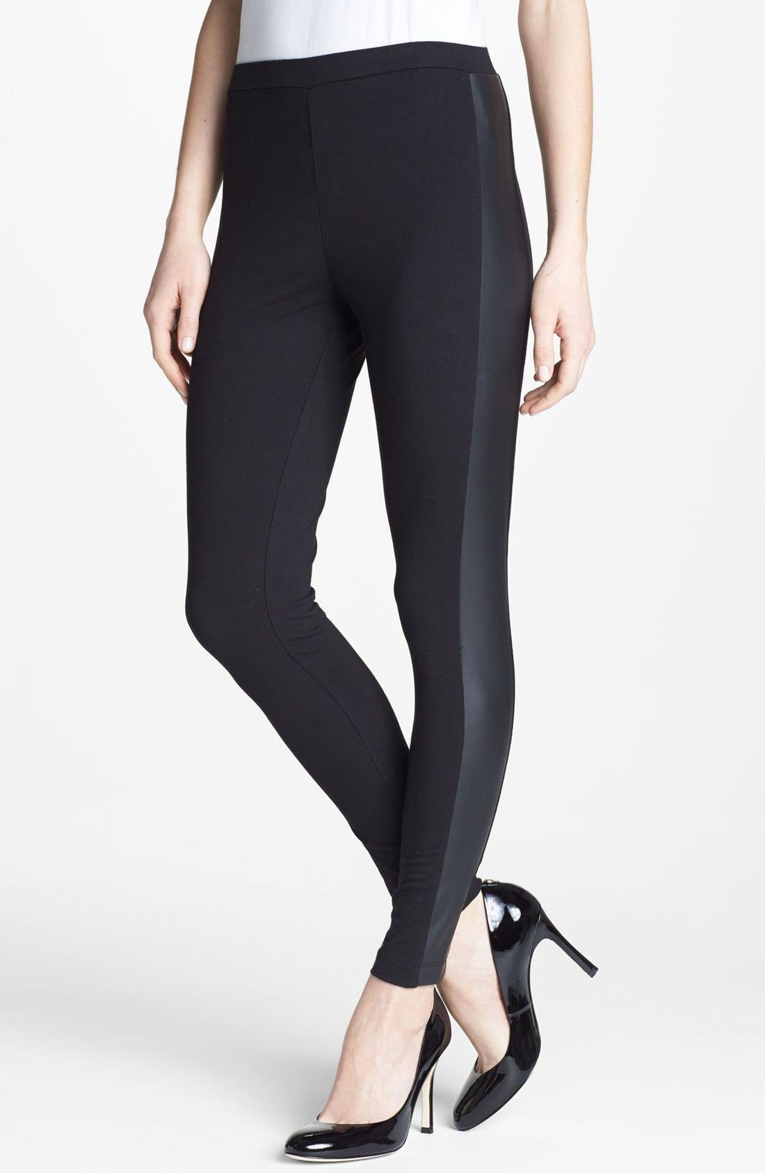 Main Image - Two by Vince Camuto Faux Leather Trim Leggings