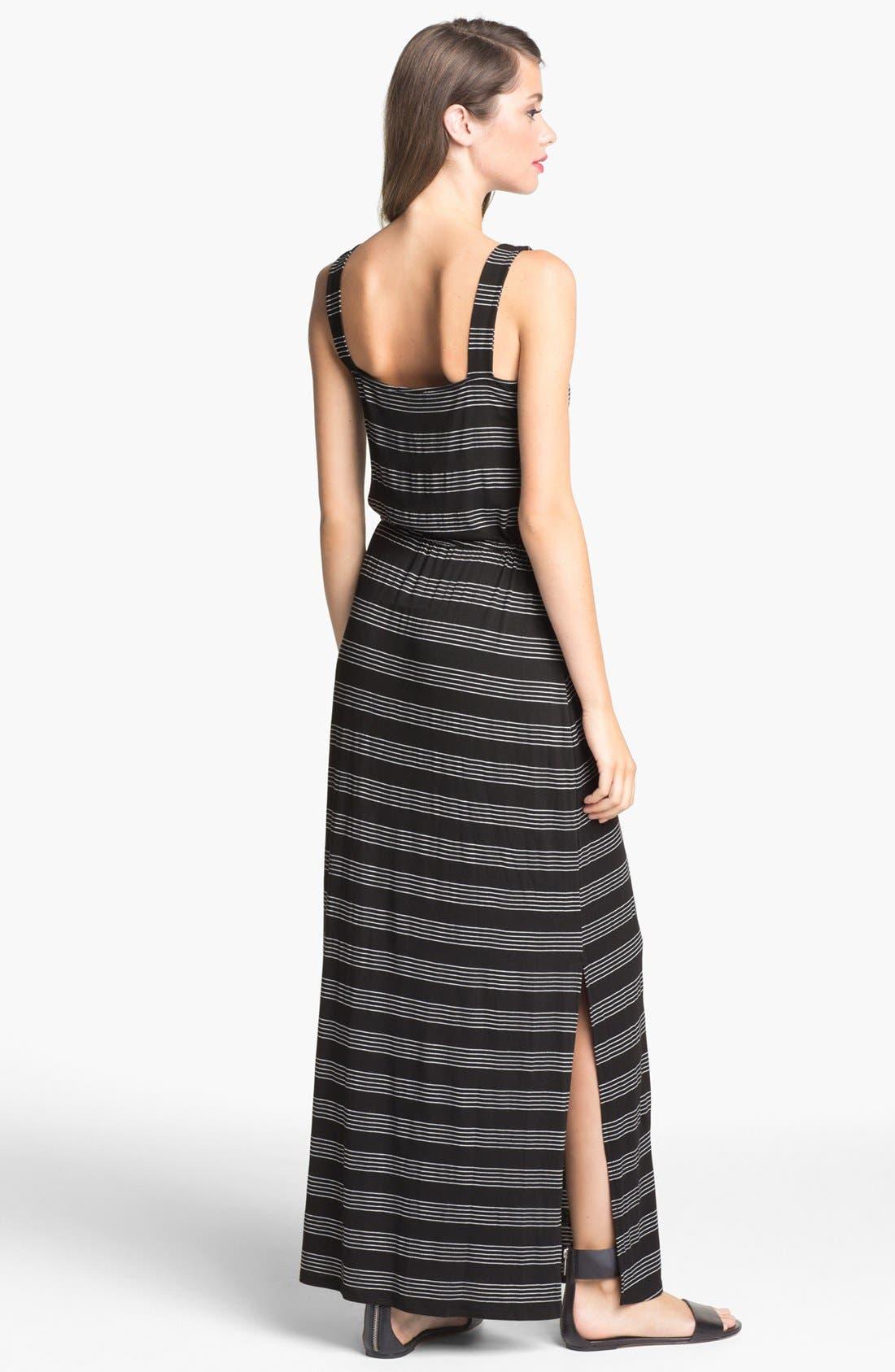 Alternate Image 2  - Loveappella Drawstring Stripe Maxi Dress (Petite)
